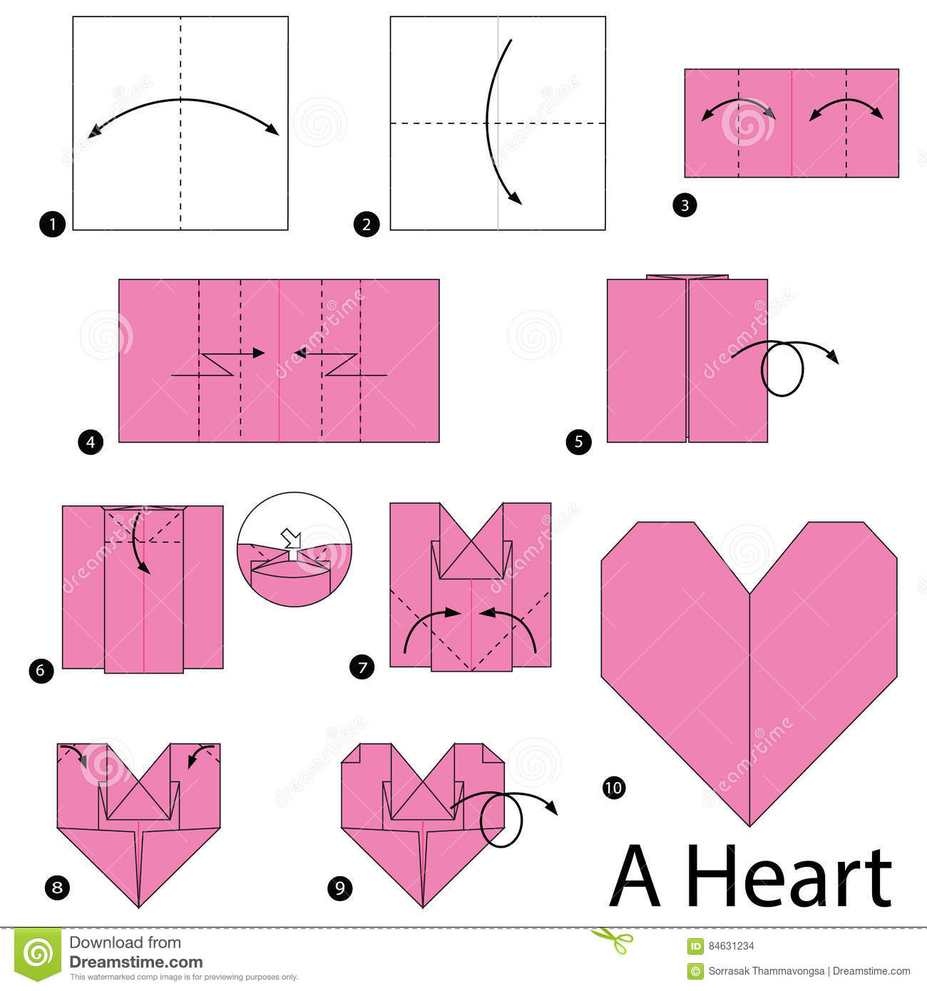 Origami Heart Pocket Instructions | Free Printable Papercraft ... | 1390x1300