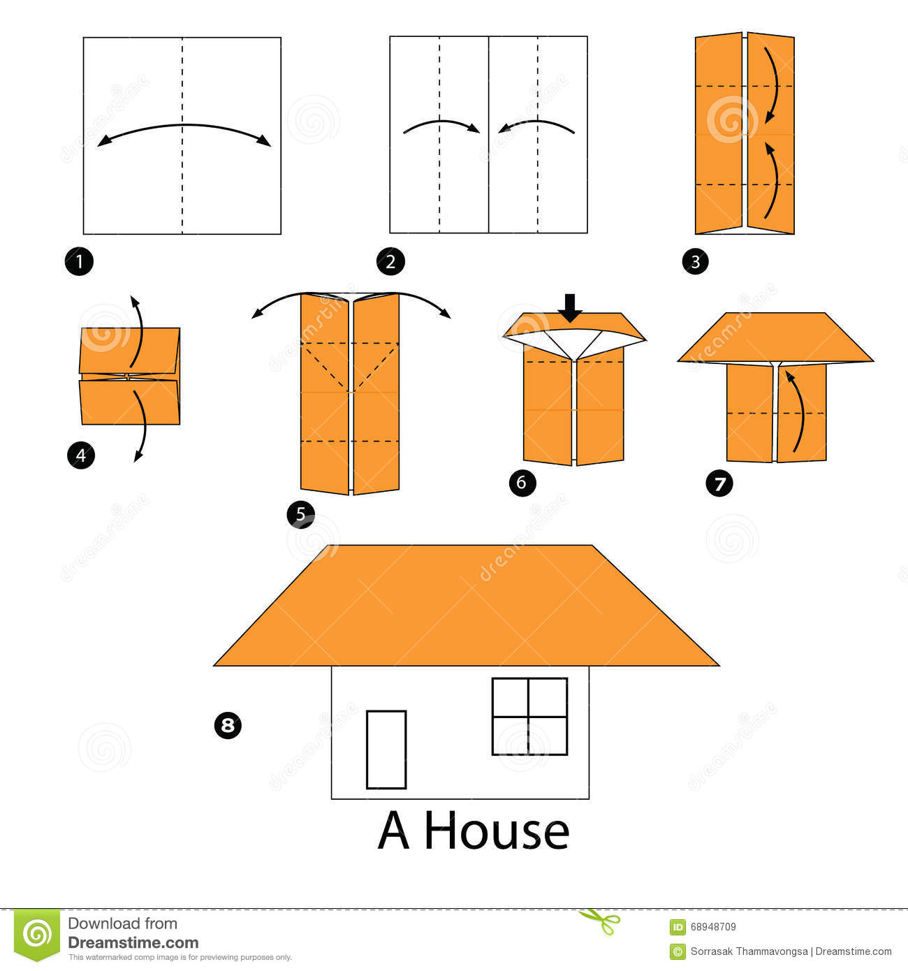 Step by step instructions how to make origami a house Step by step to build a house