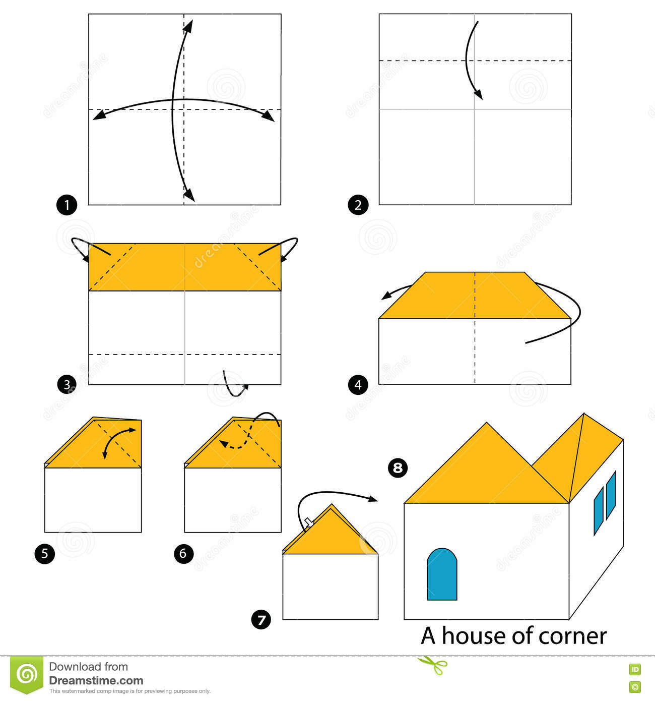 Origami House Diagram Not Lossing Wiring Instructions Step By How To Make A Of Corner Rh Dreamstime Com School Diagrams