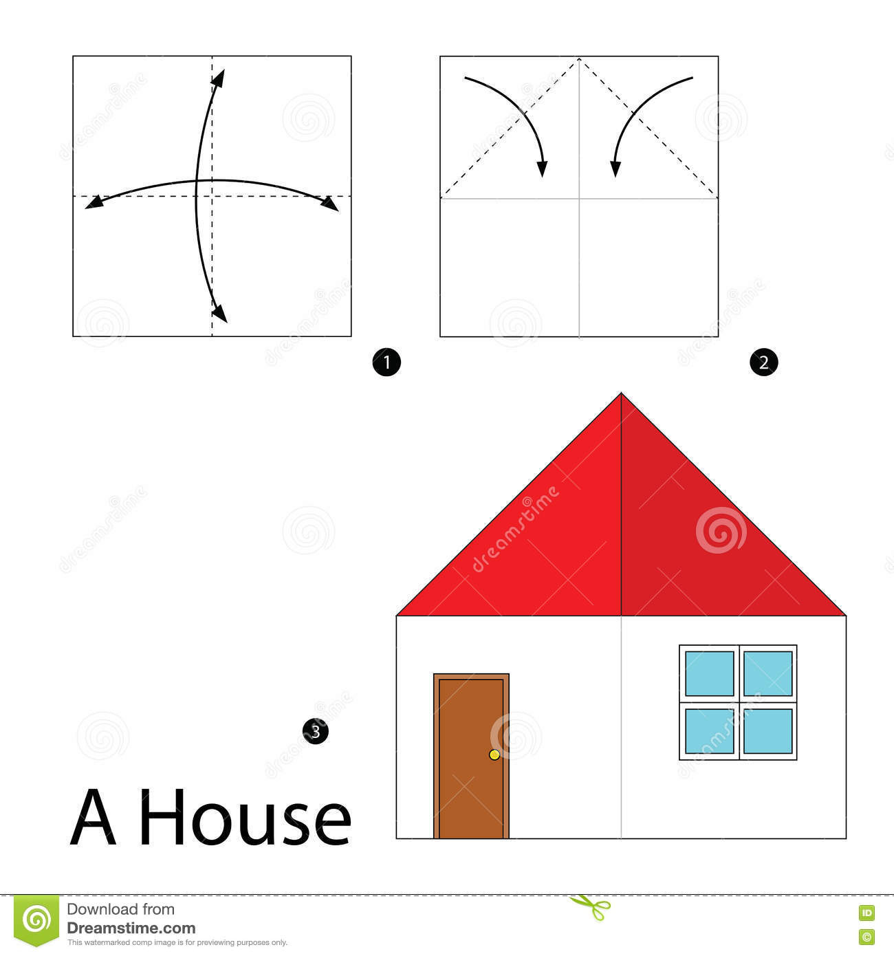 Step by step instructions how to make origami a house for How to make a house step by step