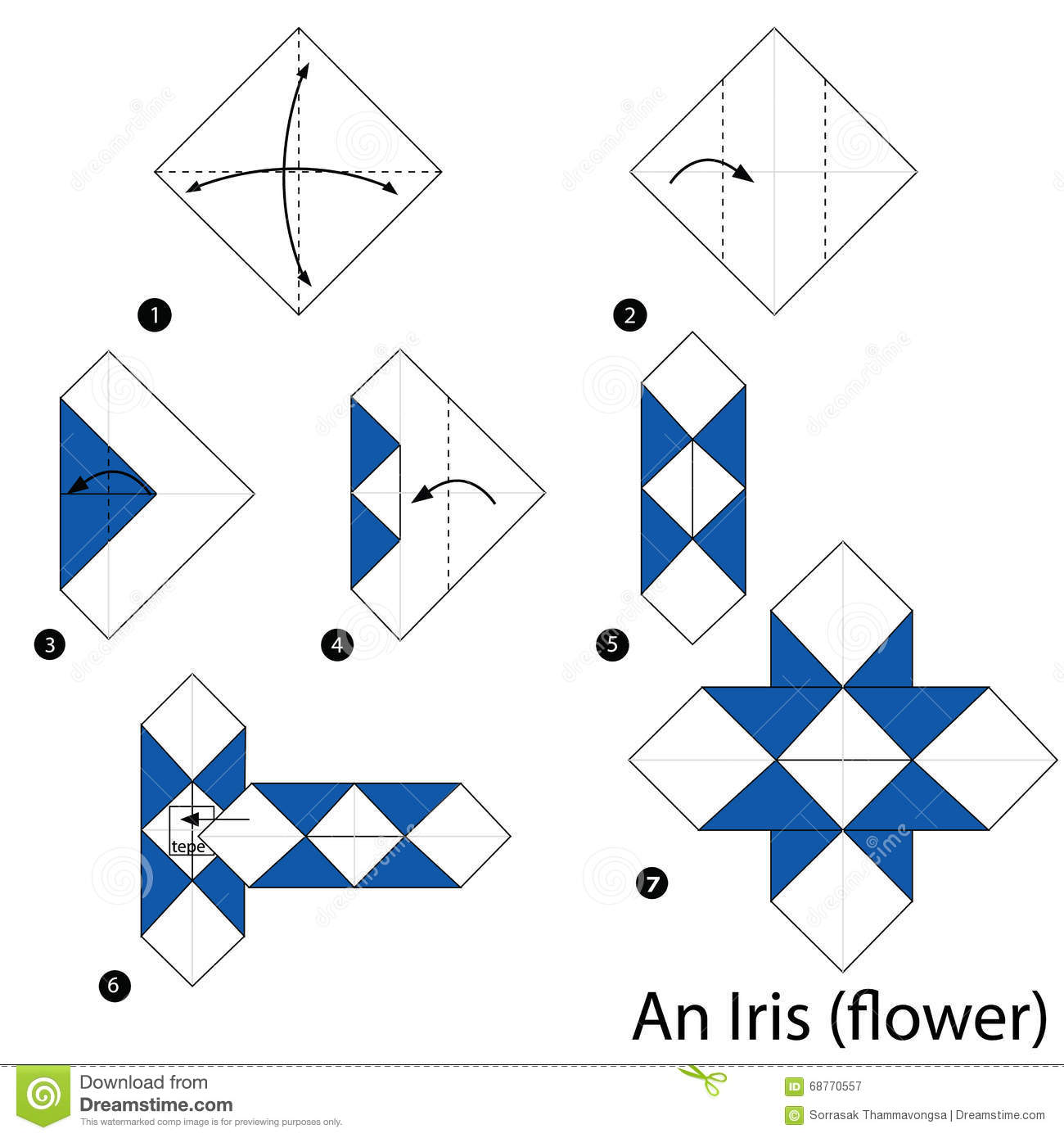 step by step instructions how to make origami an iris