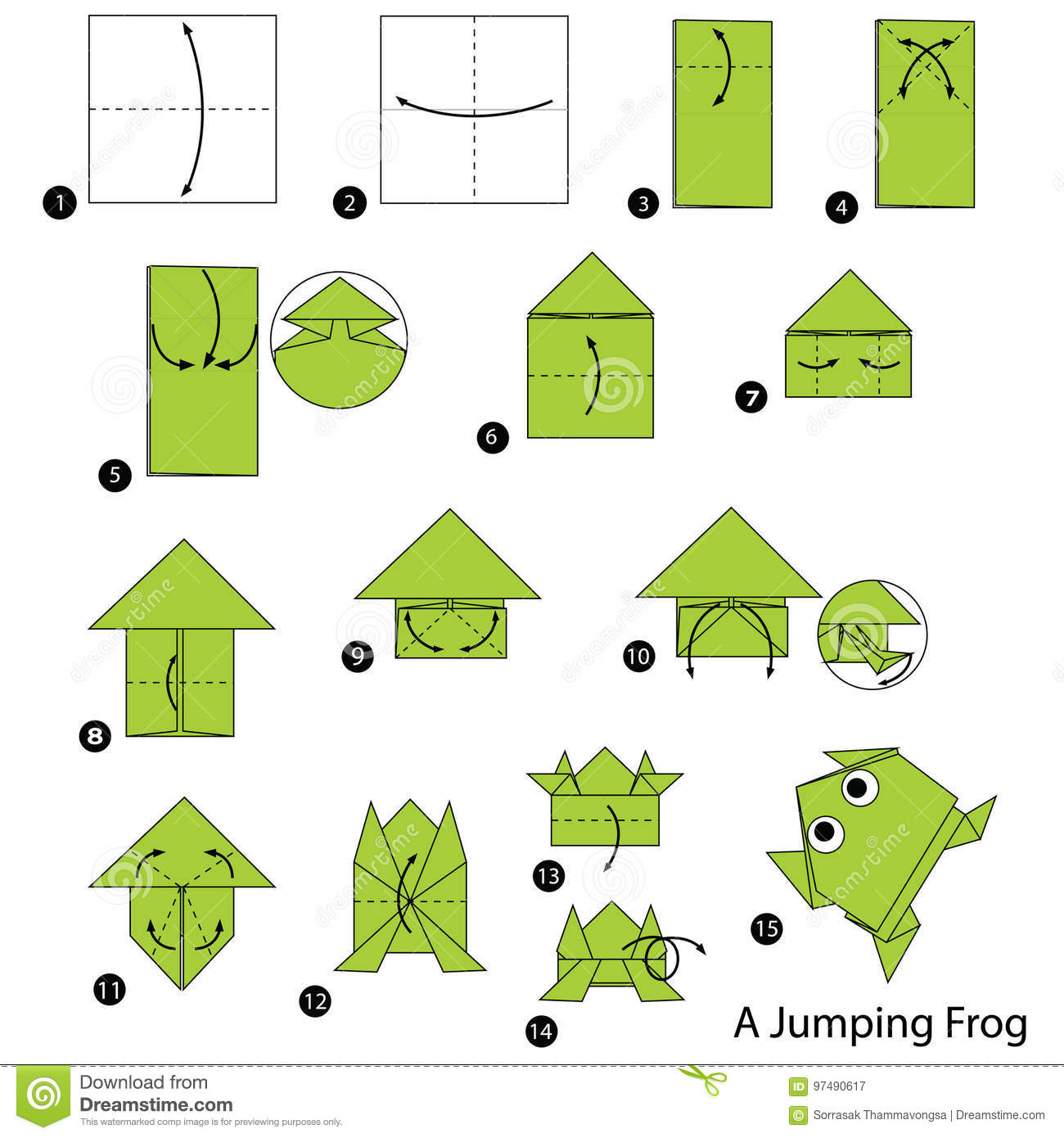 Step By Step Instructions How To Make Origami A Jumping Frog Stock