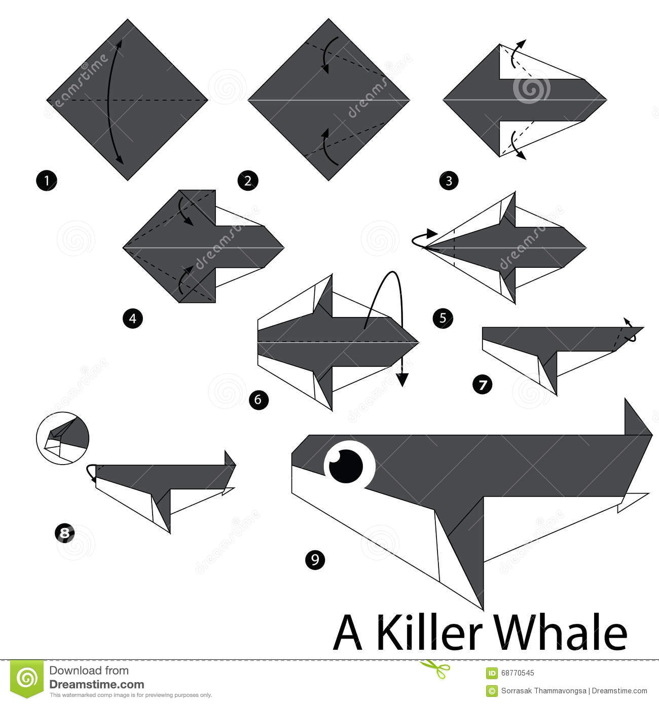 Origami Sea Animal Fish Goldfish Diagram Stock Illustration 474036625 | 1390x1300