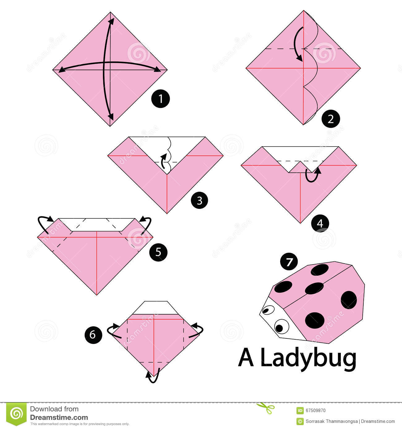 Step by step instructions how to make origami ladybug for Origami swan easy step by step