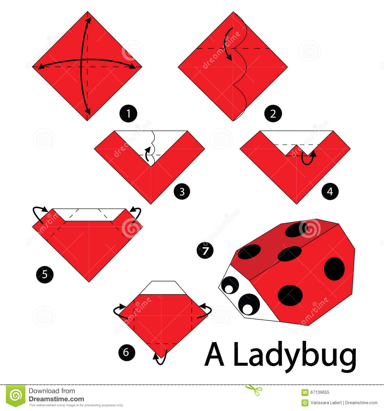 Step by step instructions how to make origami a ladybug - Papiroflexia paso a paso ...