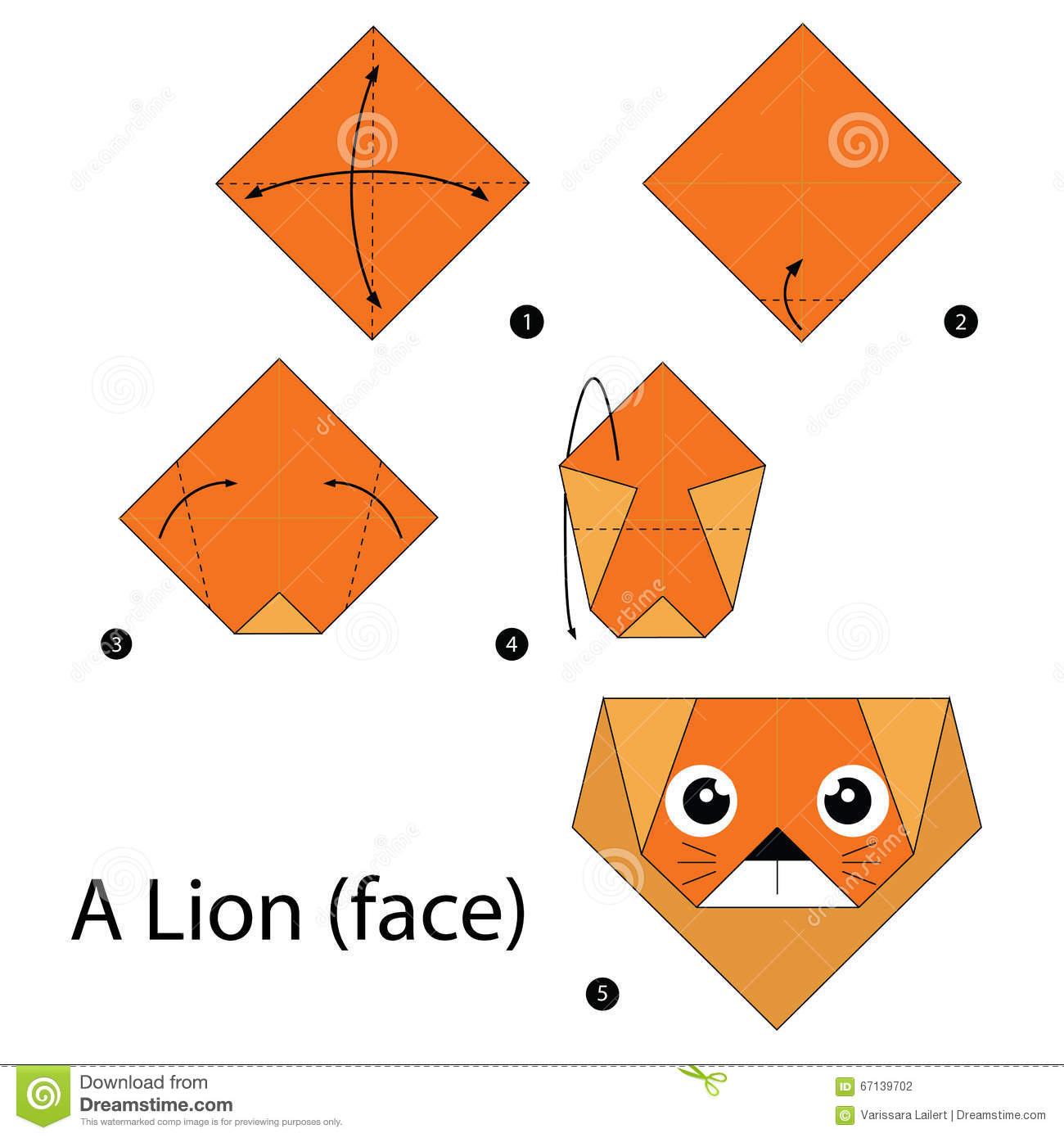 Download Step By Instructions How To Make Origami A Lion Stock Vector