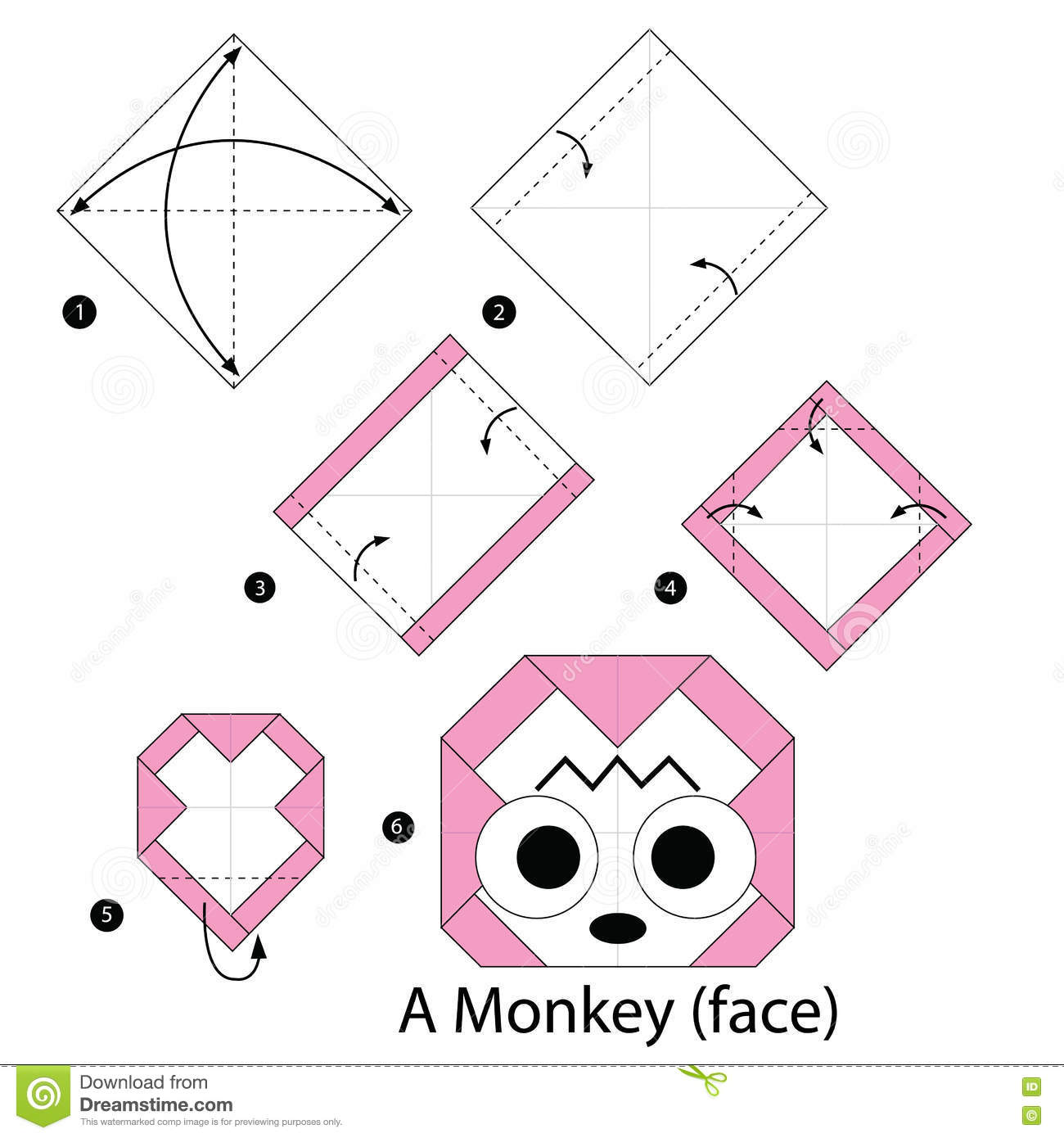 Step By Instructions How To Make Origami A Monkeyface Stock