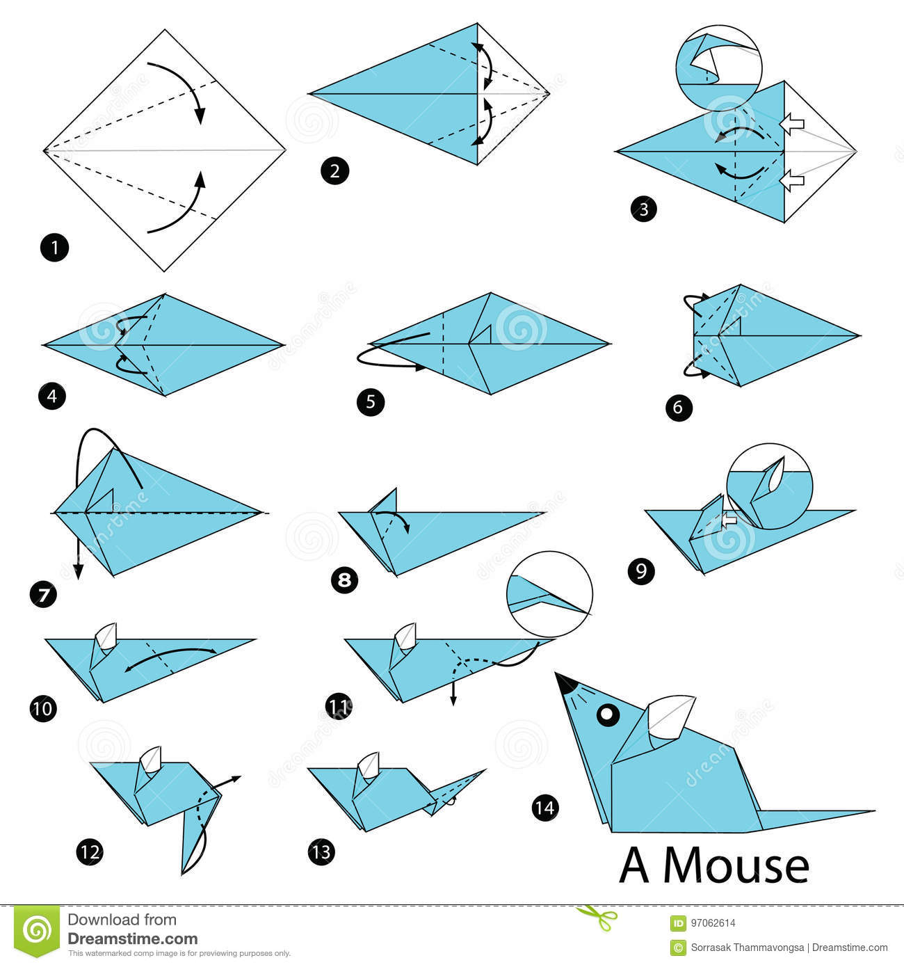 Step By Step Instructions How To Make Origami A Mouse Stock Vector