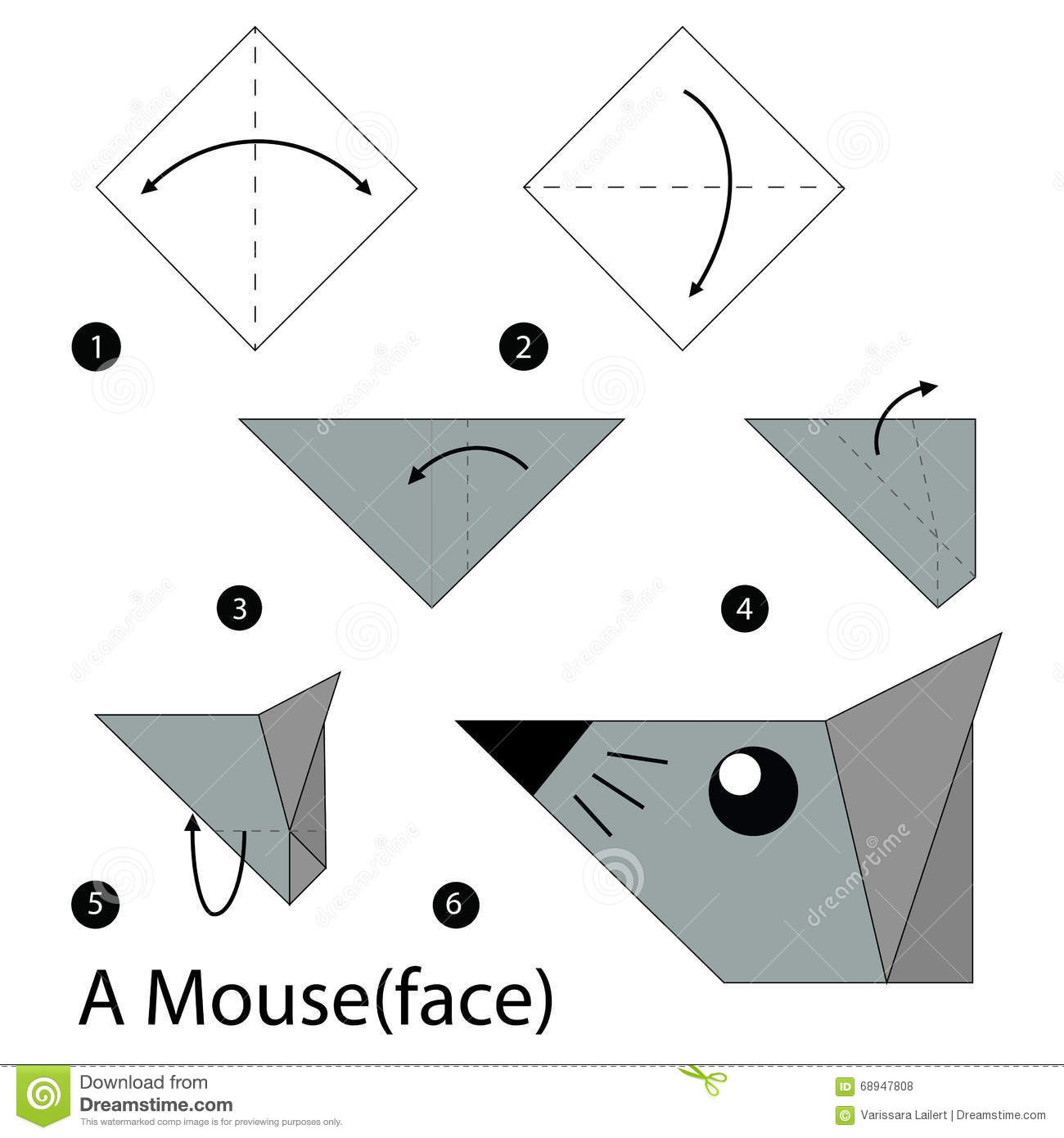 Origami rat stock illustrations 35 origami rat stock step by step instructions how to make origami a mouse illustration step by step of jeuxipadfo Images