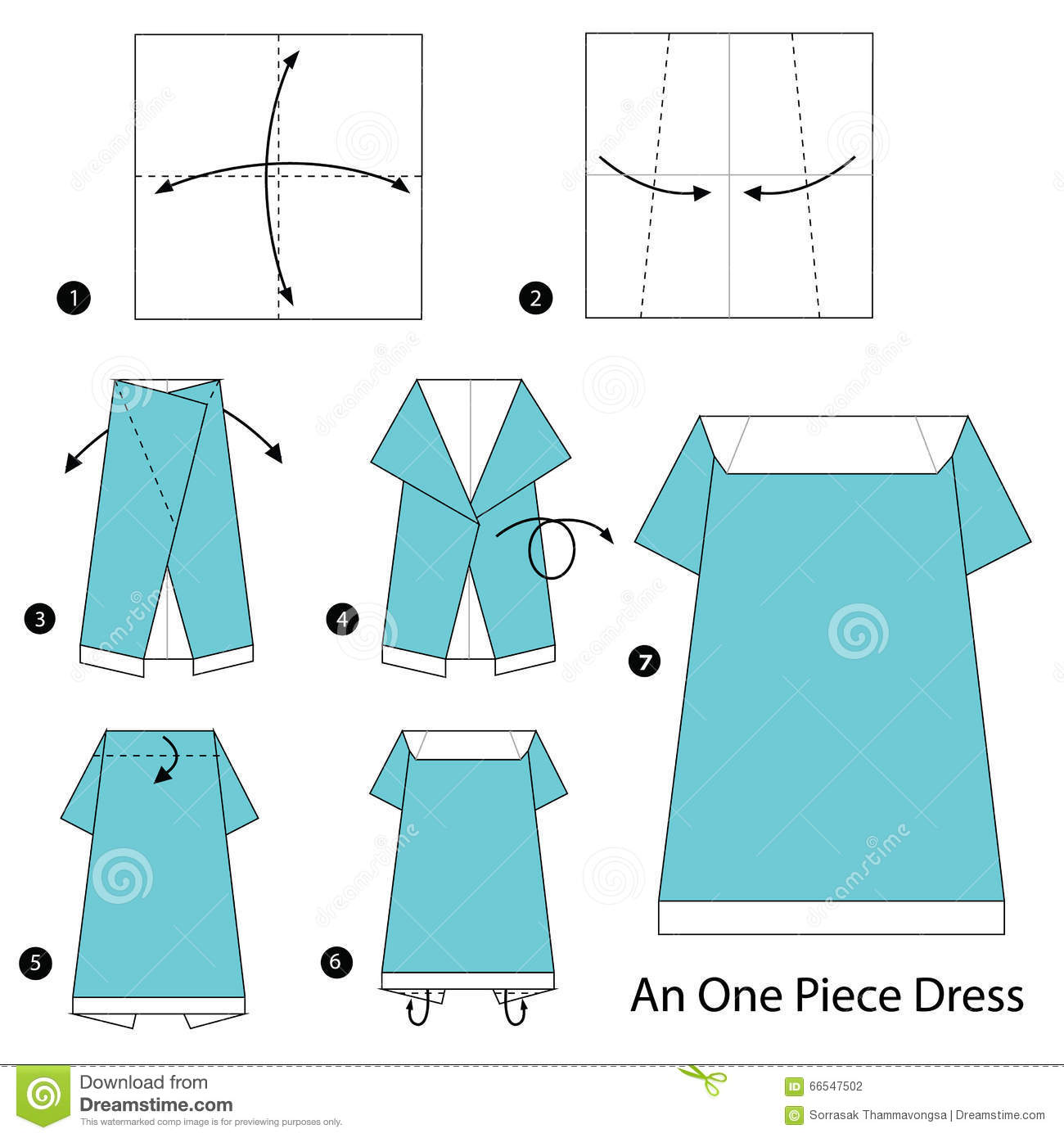 Step by step instructions how to make origami a skirt. — stock.