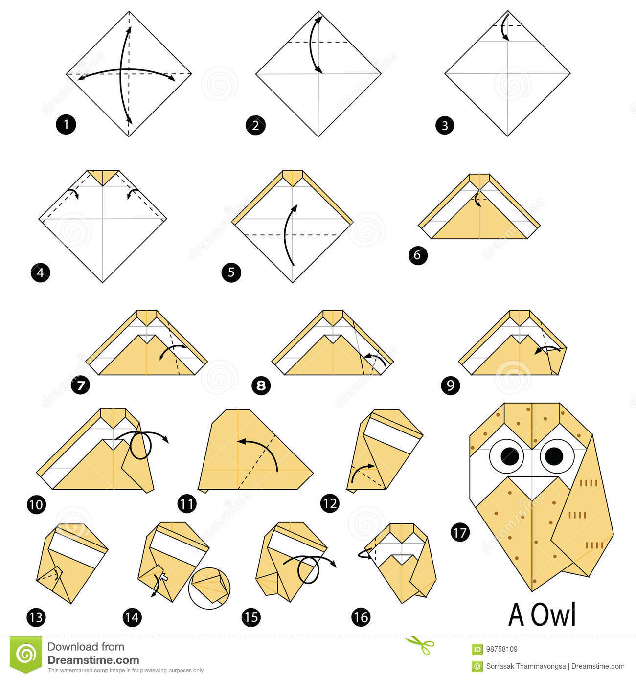 Download Step By Instructions How To Make Origami A Owl Stock Vector