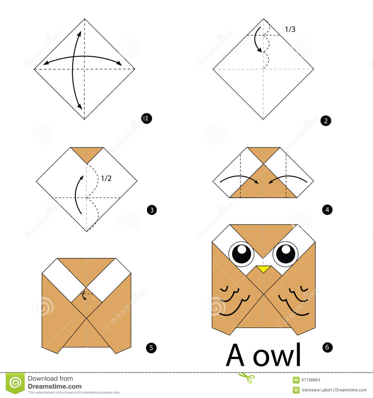 Step By Instructions How To Make Origami Owl Stock Vector Image 67138884