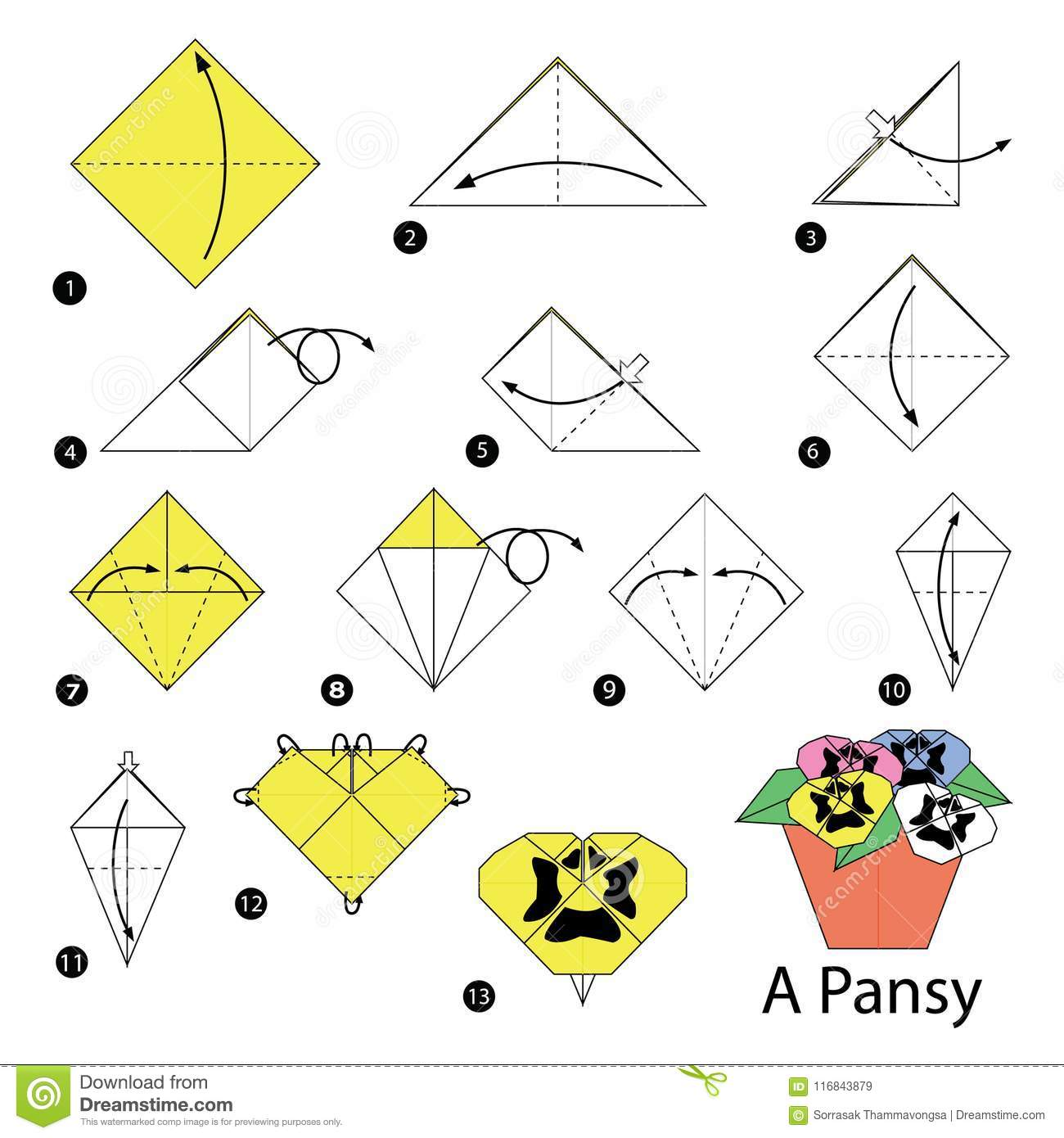 Step By Step Instructions How To Make Origami A Pansy Stock Vector