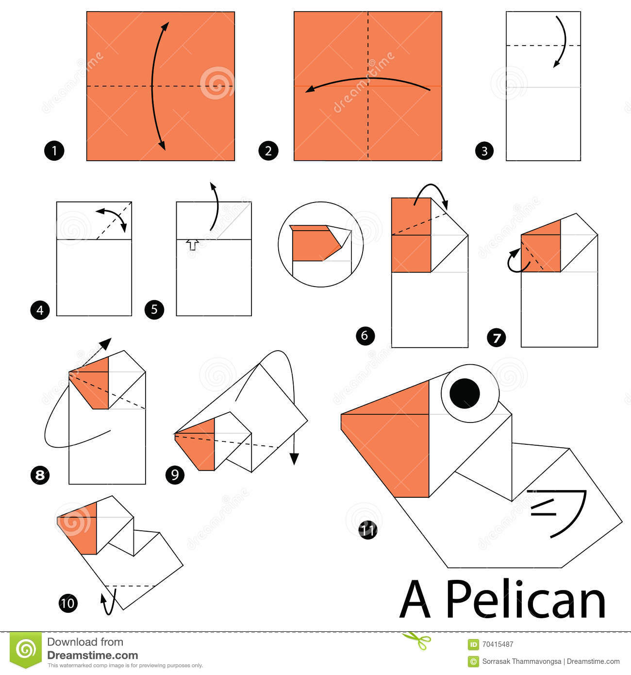 step by step instructions how to make origami a pelican