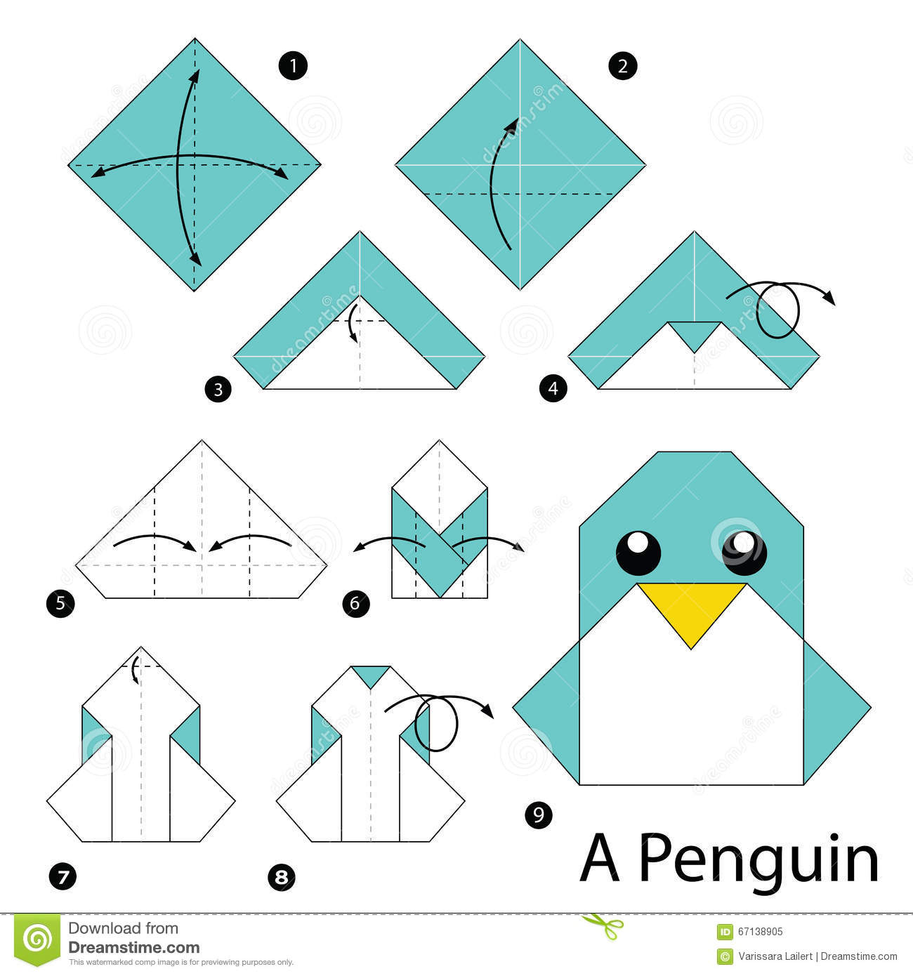 Step By Instructions How To Make Origami A Penguin Stock Vector Image 67138905