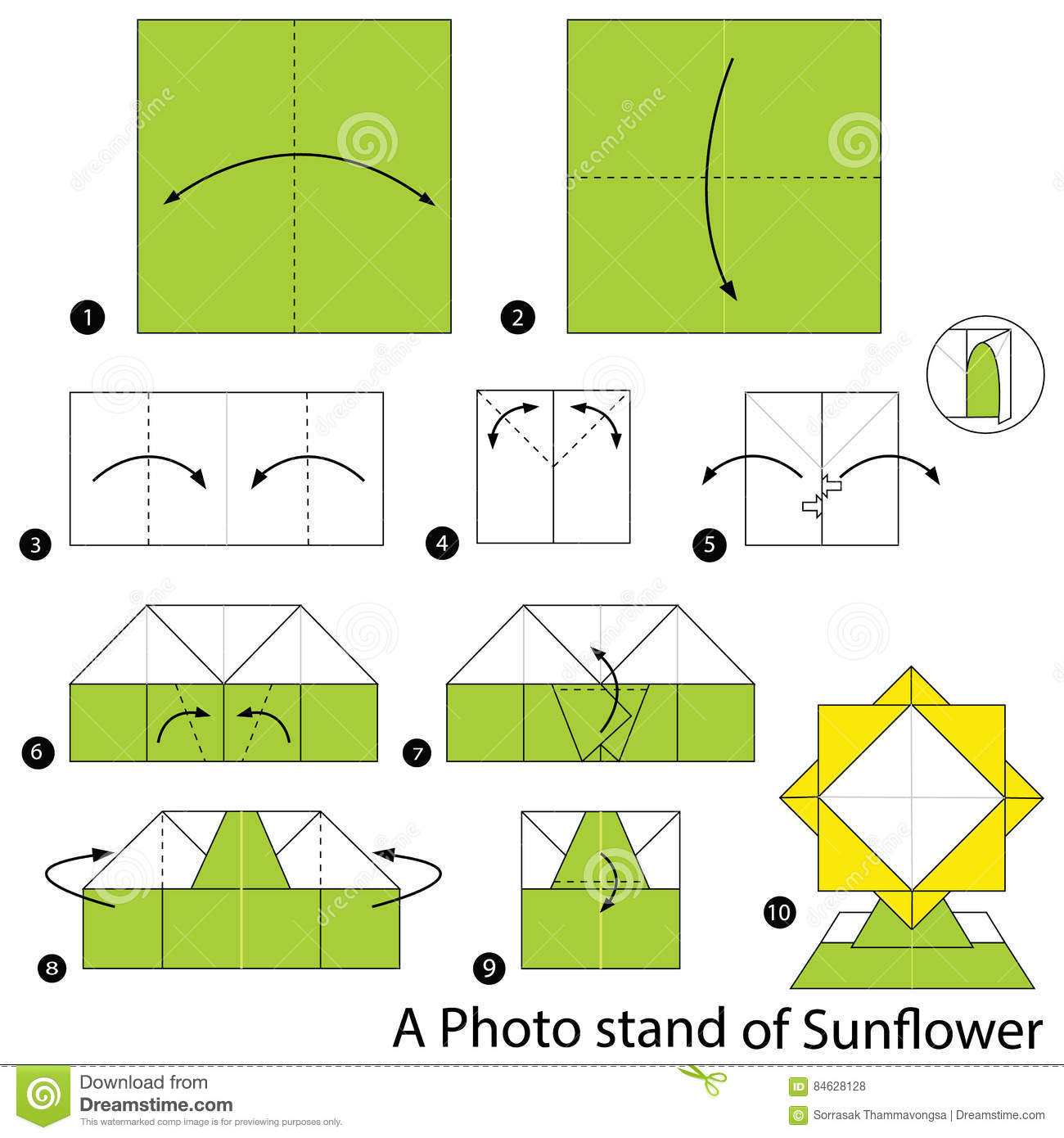 Step by step instructions how to make origami a photo stand of step by step instructions how to make origami a photo stand of sunflower jeuxipadfo Gallery