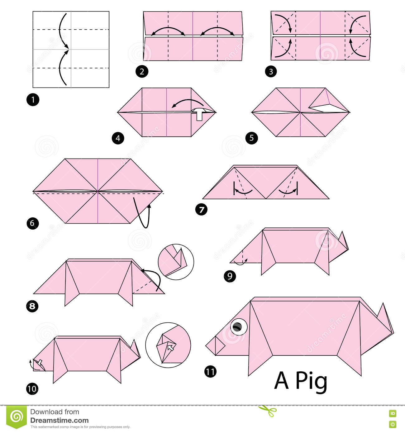 Step By Instructions How To Make Origami A Pig Royalty Free Stock Photo