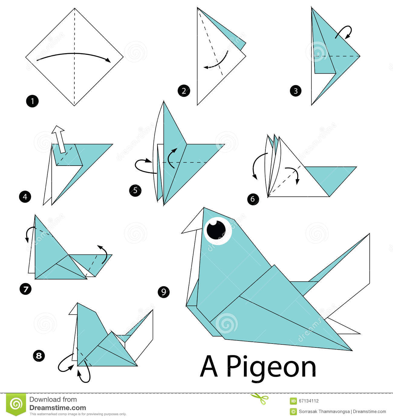 Download Step By Instructions How To Make Origami A Pigeon Stock Vector