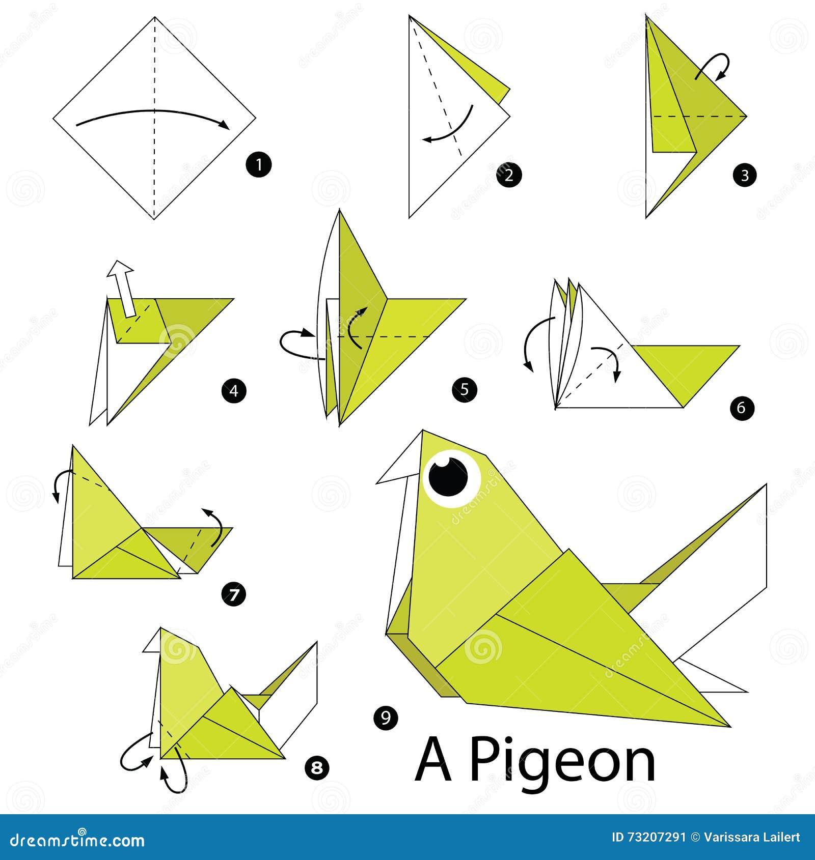 Как сделать птицу оригами схемы