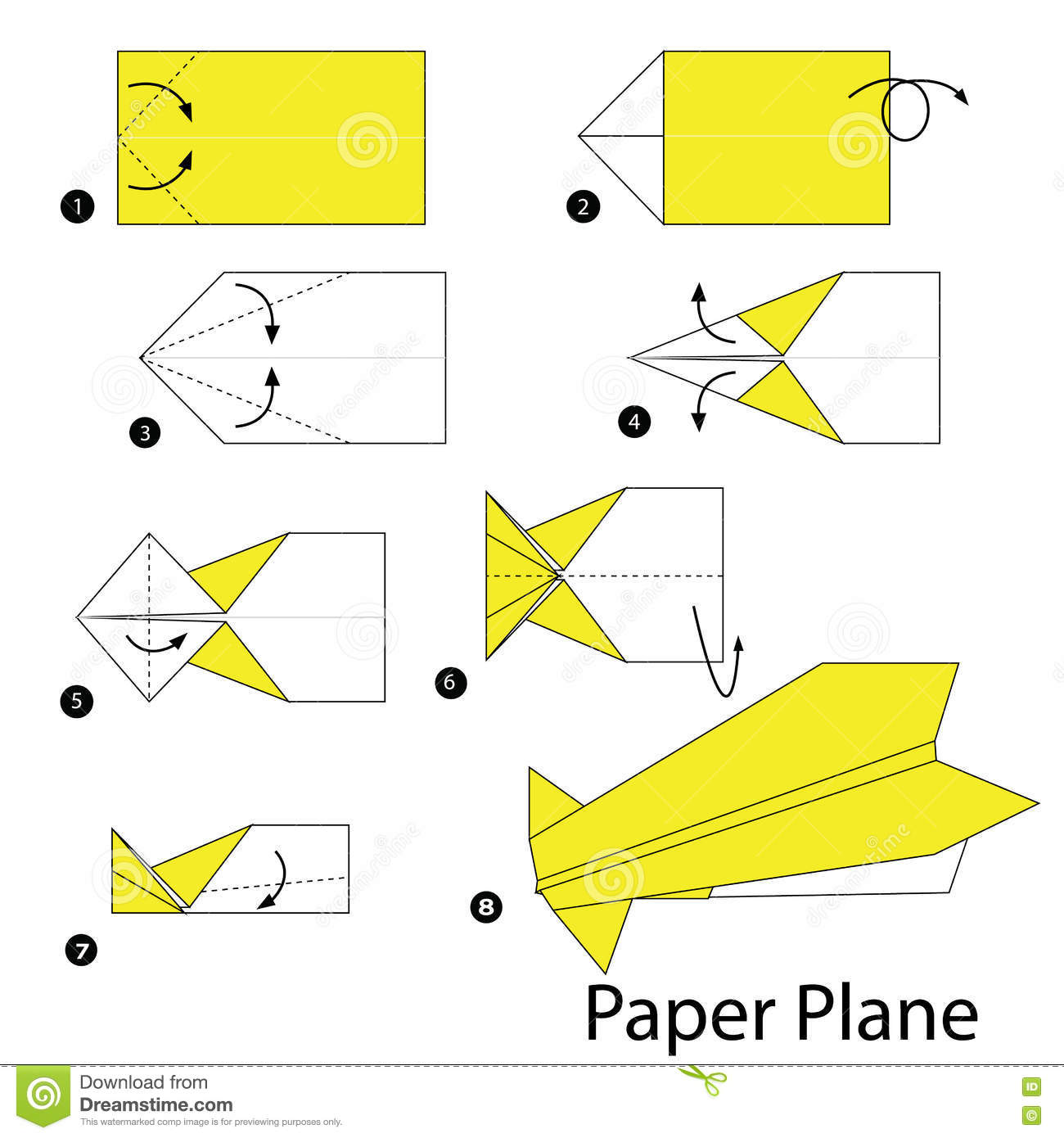 Step By Step Instructions How To Make Origami A Plane Stock Vector