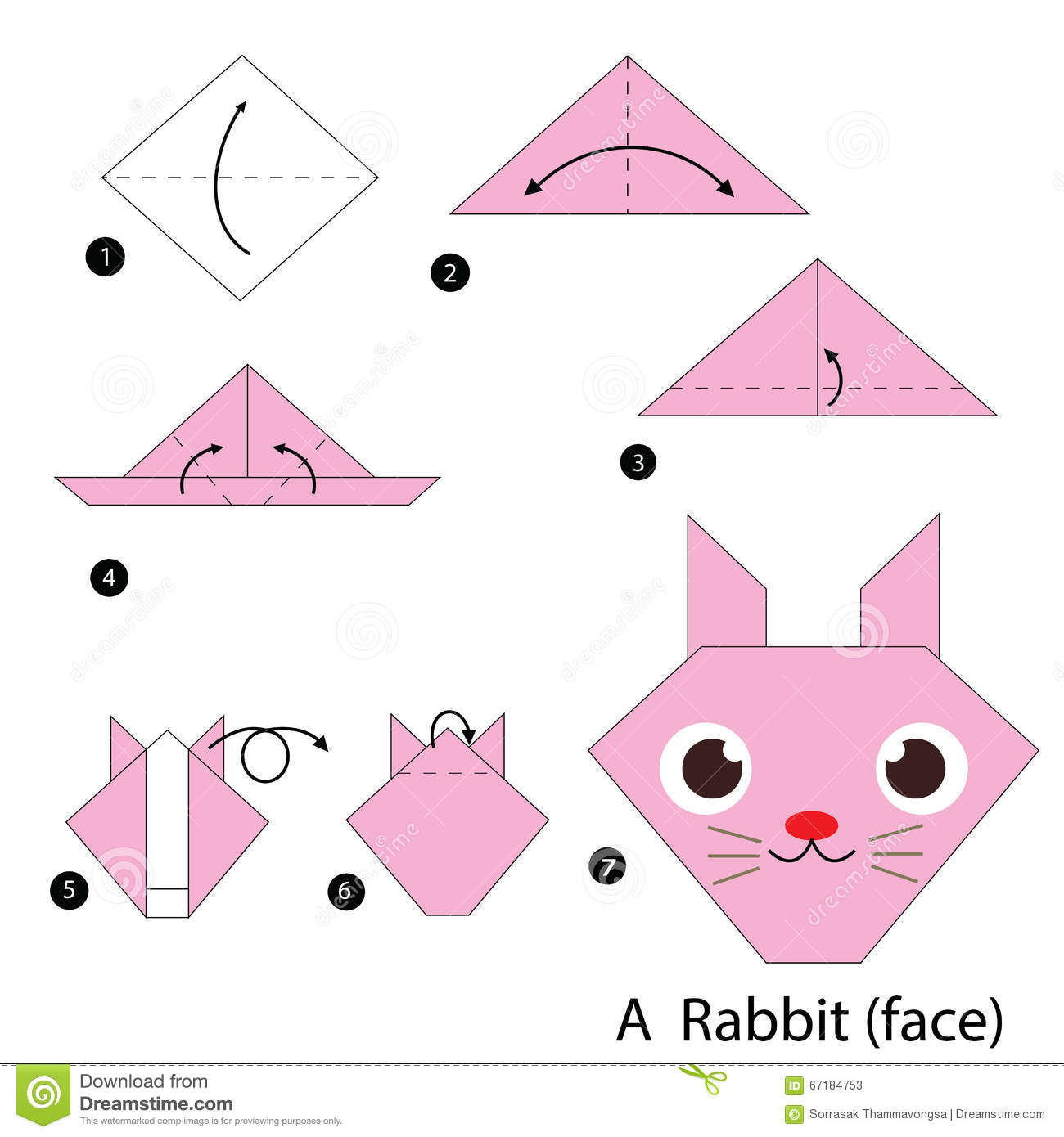 Step By Instructions How To Make Origami A Rabbit Stock Vector