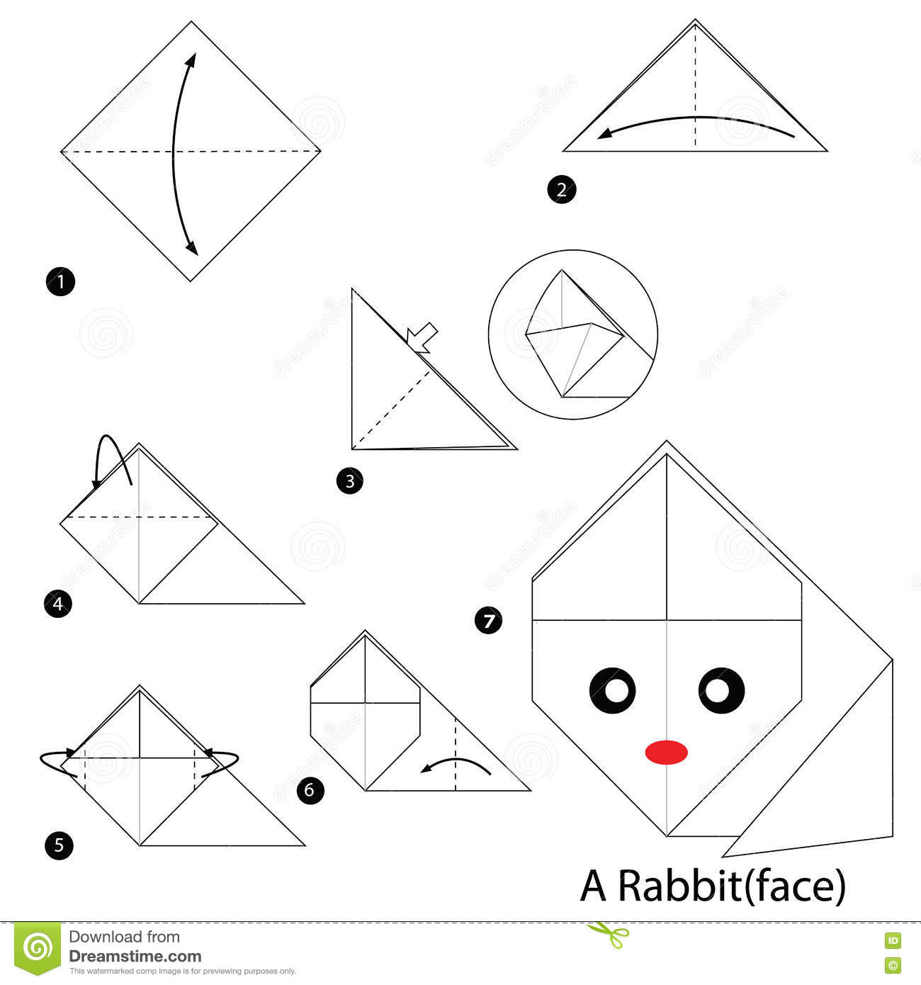 Step By Step Instructions How To Make Origami A Rabbit Stock Vector