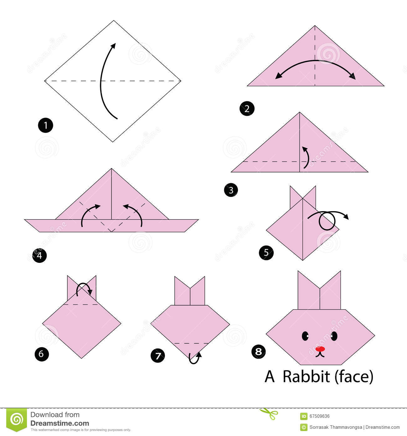 87 3d Origami Animals Instructions Diagram Folding Livre Racer Muneji Step By How To Make A Rabbit Stock Vector