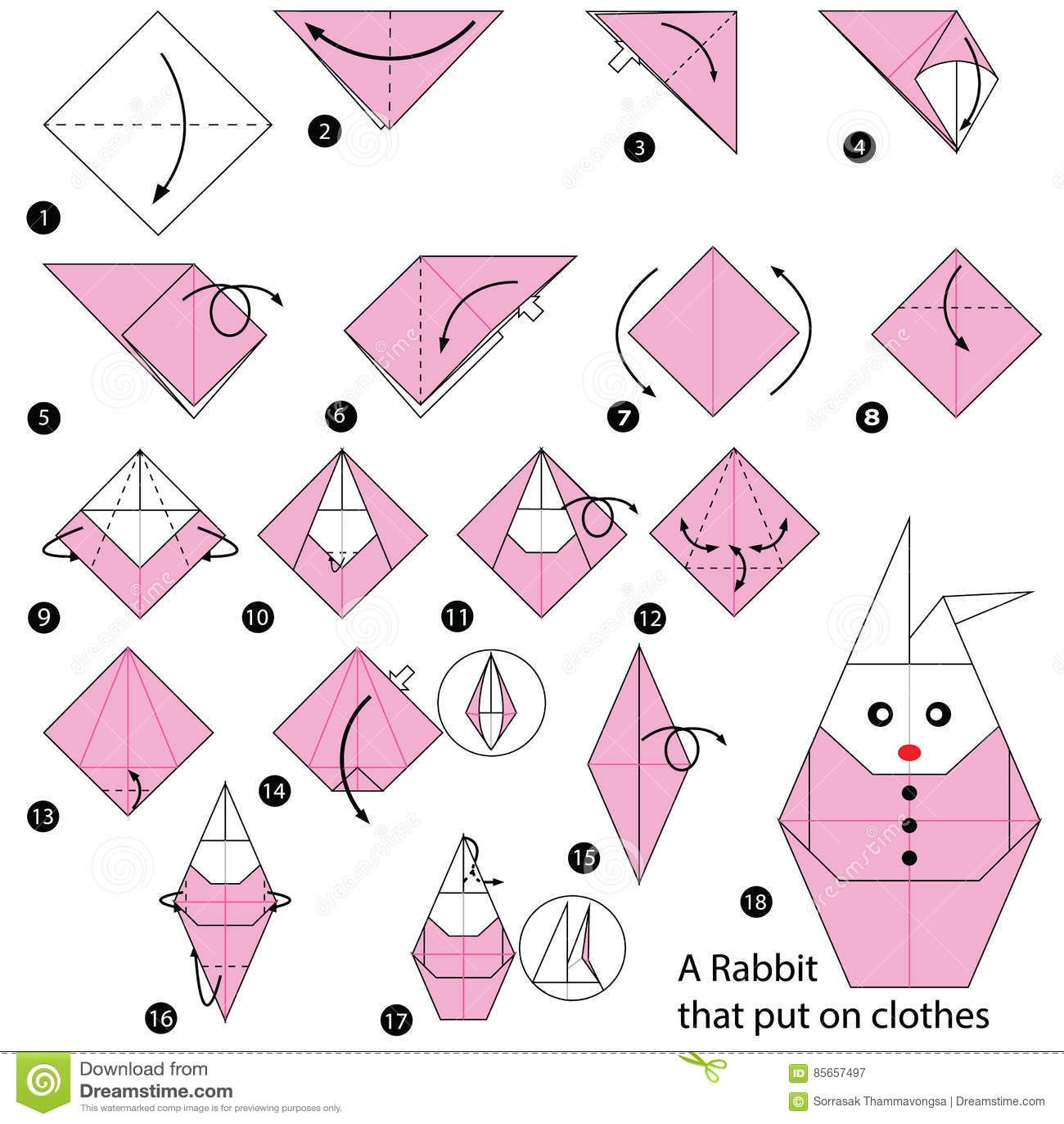 Origami Animal Instructions Rabbit | Tutorial Origami Handmade - photo#34