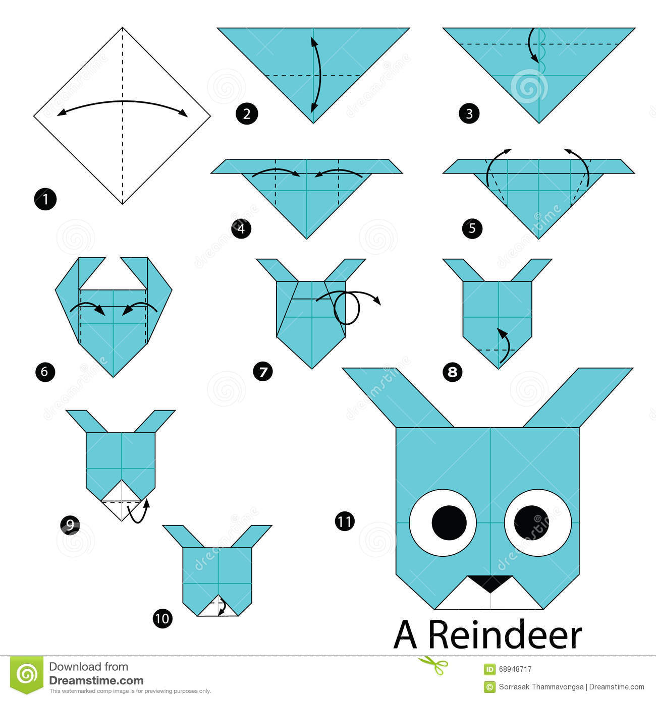Step By Step Instructions How To Make Origami A Reindeer ... - photo#36