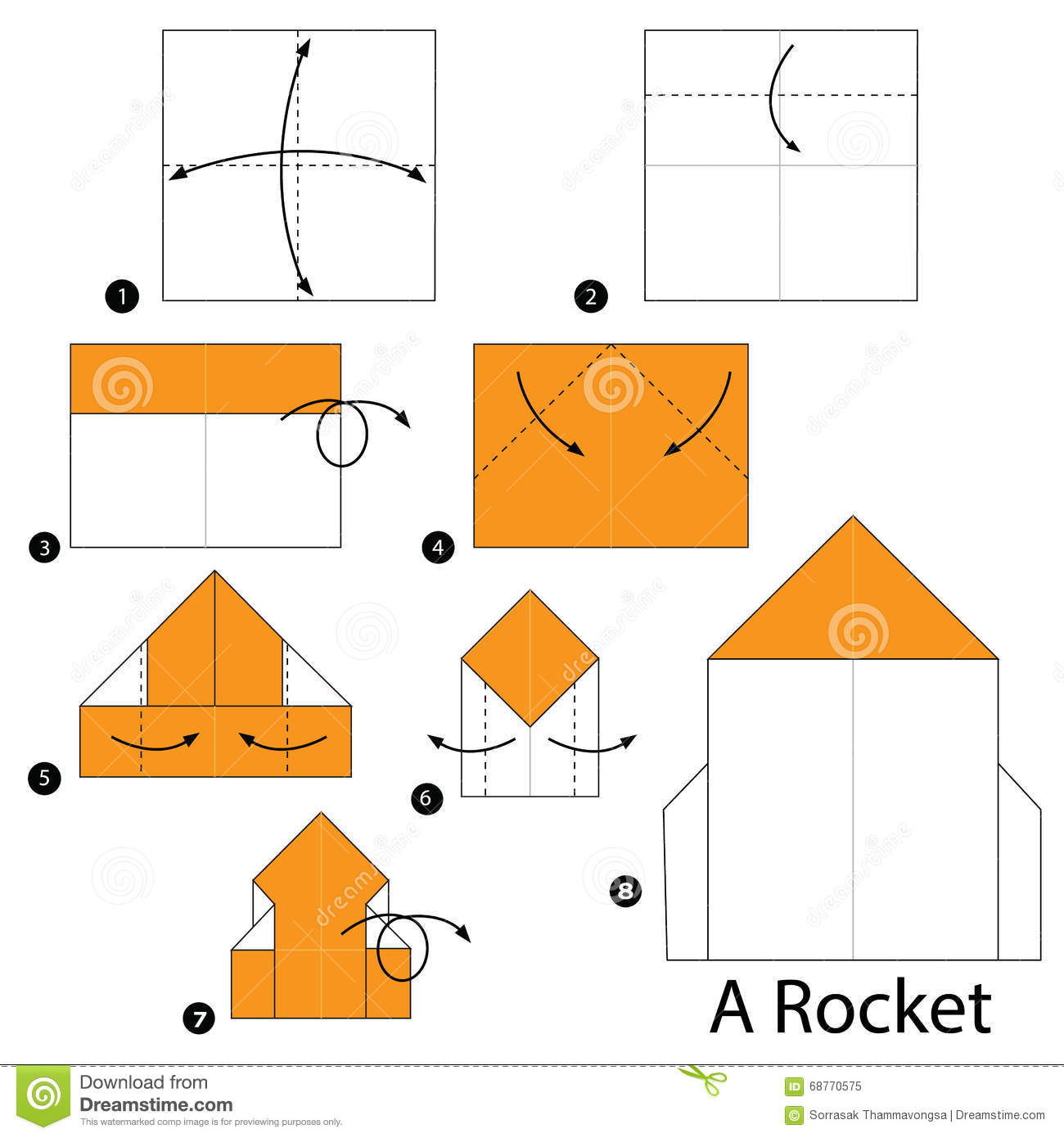 Step By Instructions How To Make Origami A Rocket Stock Vector