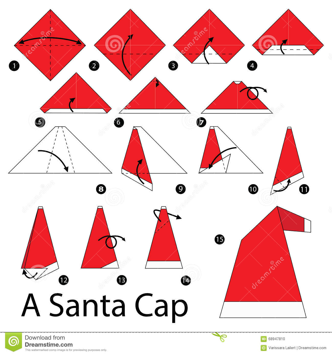 step by step instructions how to make origami a santa cap