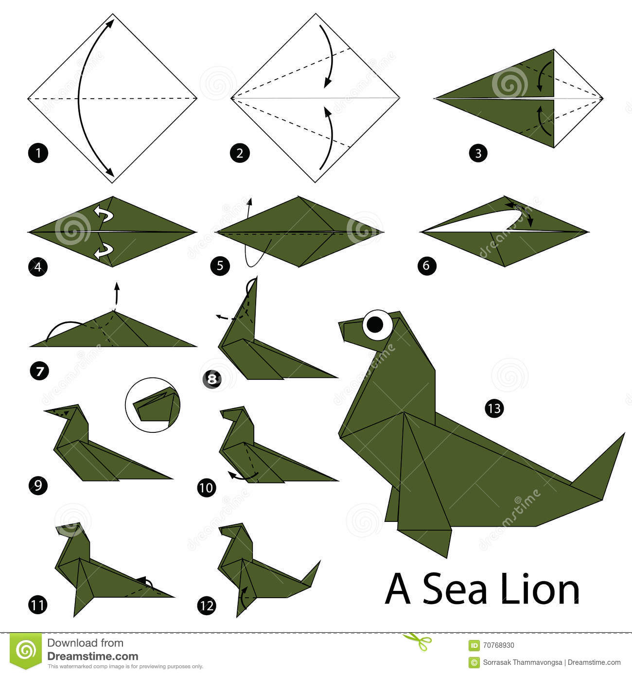 Step By Step Instructions How To Make Origami A Sea Lion Stock