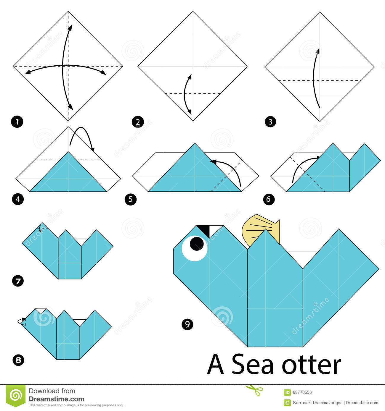 87 Origami Zebra Instructions Mouse Li Aka Ville To Fold From The Paper Diagram Of Themouse Step By How Make A Sea Otter Stock