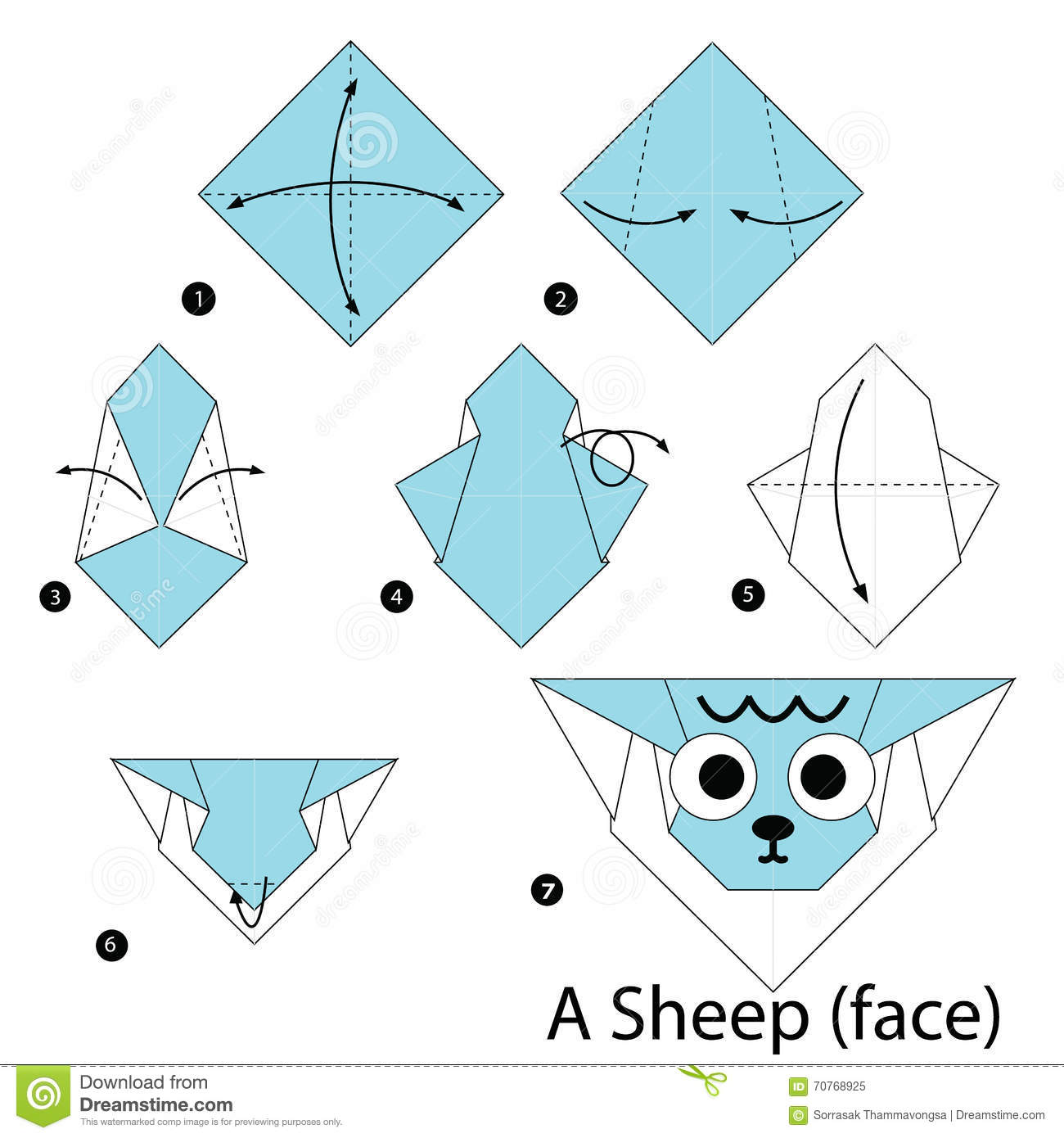 Step by step instructions how to make origami a sheepface stock step by step instructions how to make origami a sheepface jeuxipadfo Gallery