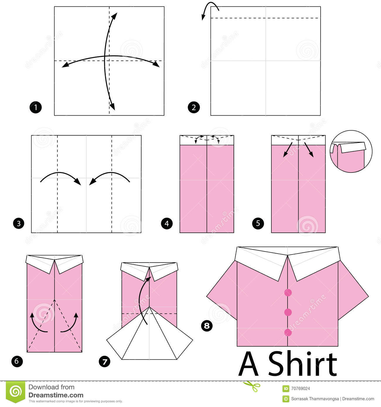 Step By Step Instructions How To Make Origami Shirt. Stock ... - photo#37