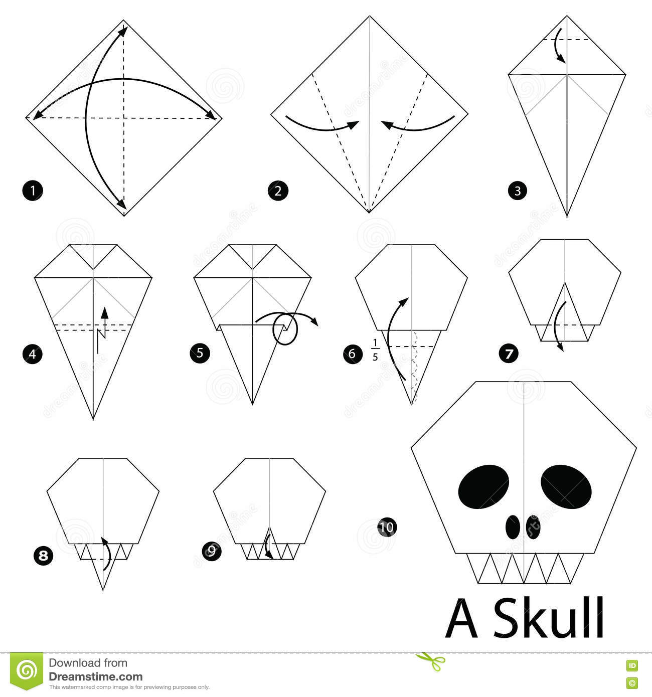 Step By Step Instructions How To Make Origami A Skull Stock Vector
