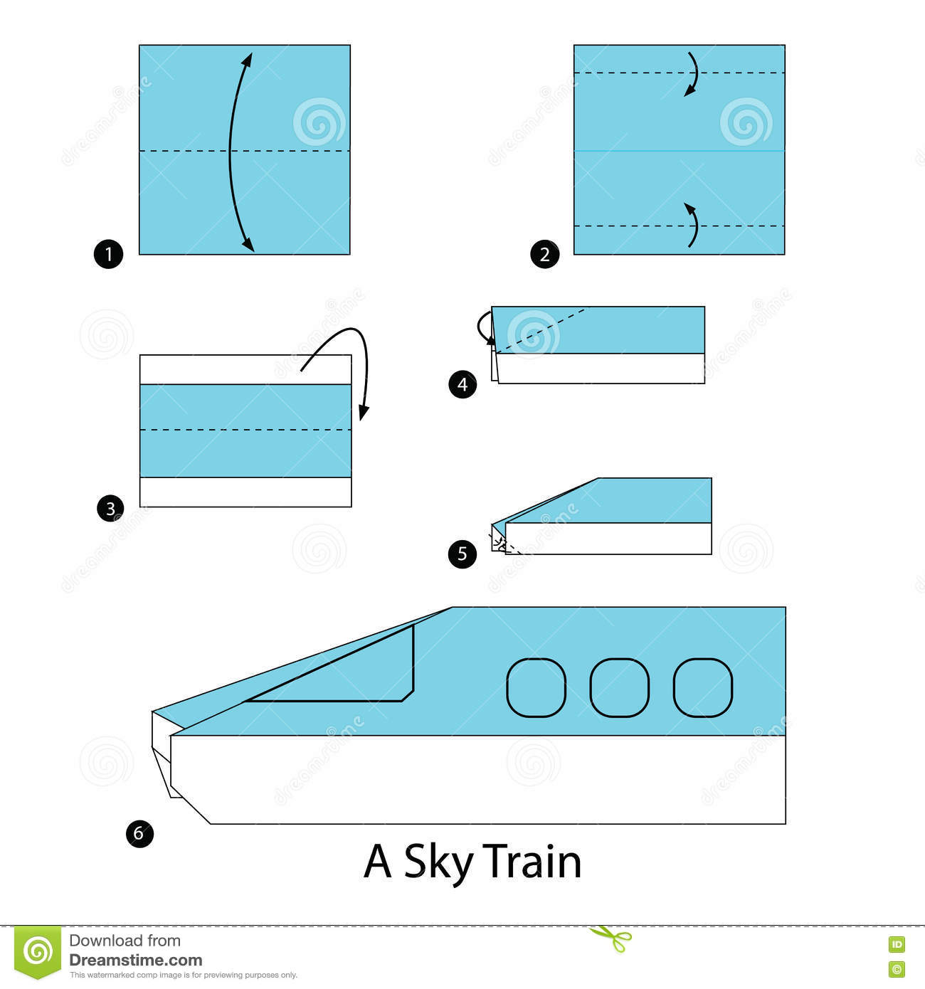 step by step instructions how to make origami a sky train stock vector illustration of craft. Black Bedroom Furniture Sets. Home Design Ideas