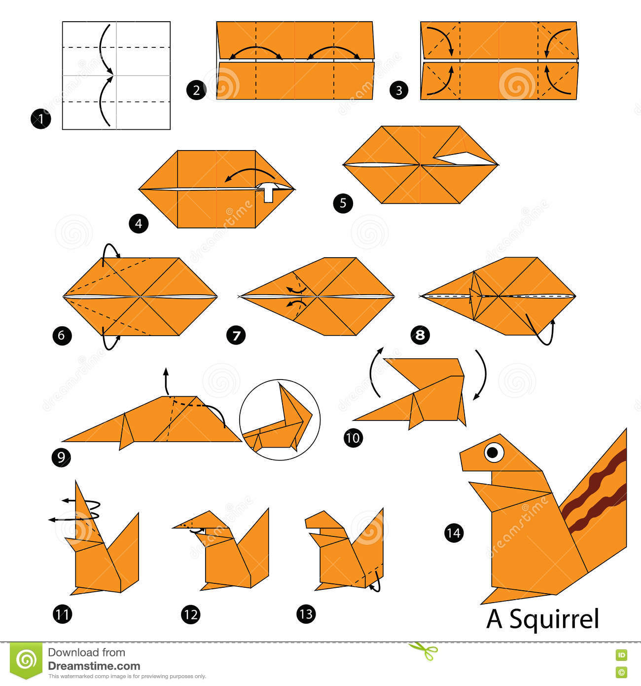 How To Fold Origami Squirrel From The Paper Origami Diagram Of The