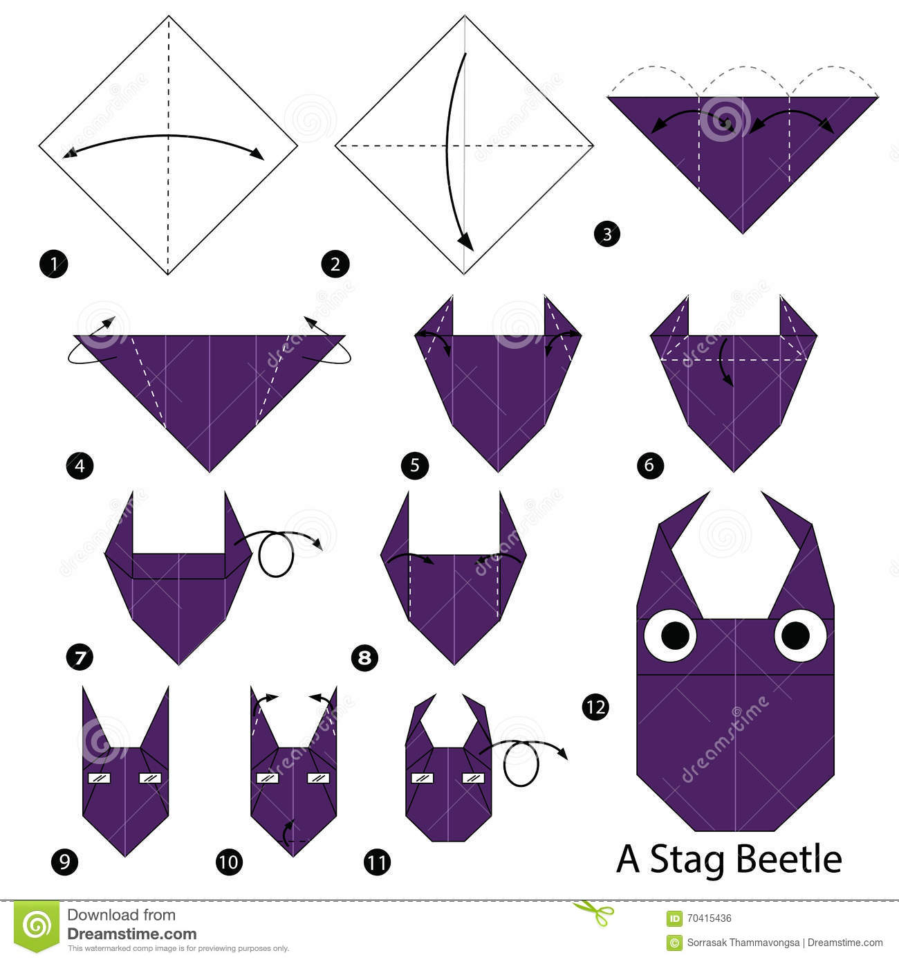 By Step Instructions How To Make Origami A Stag Beetle Stock Vector