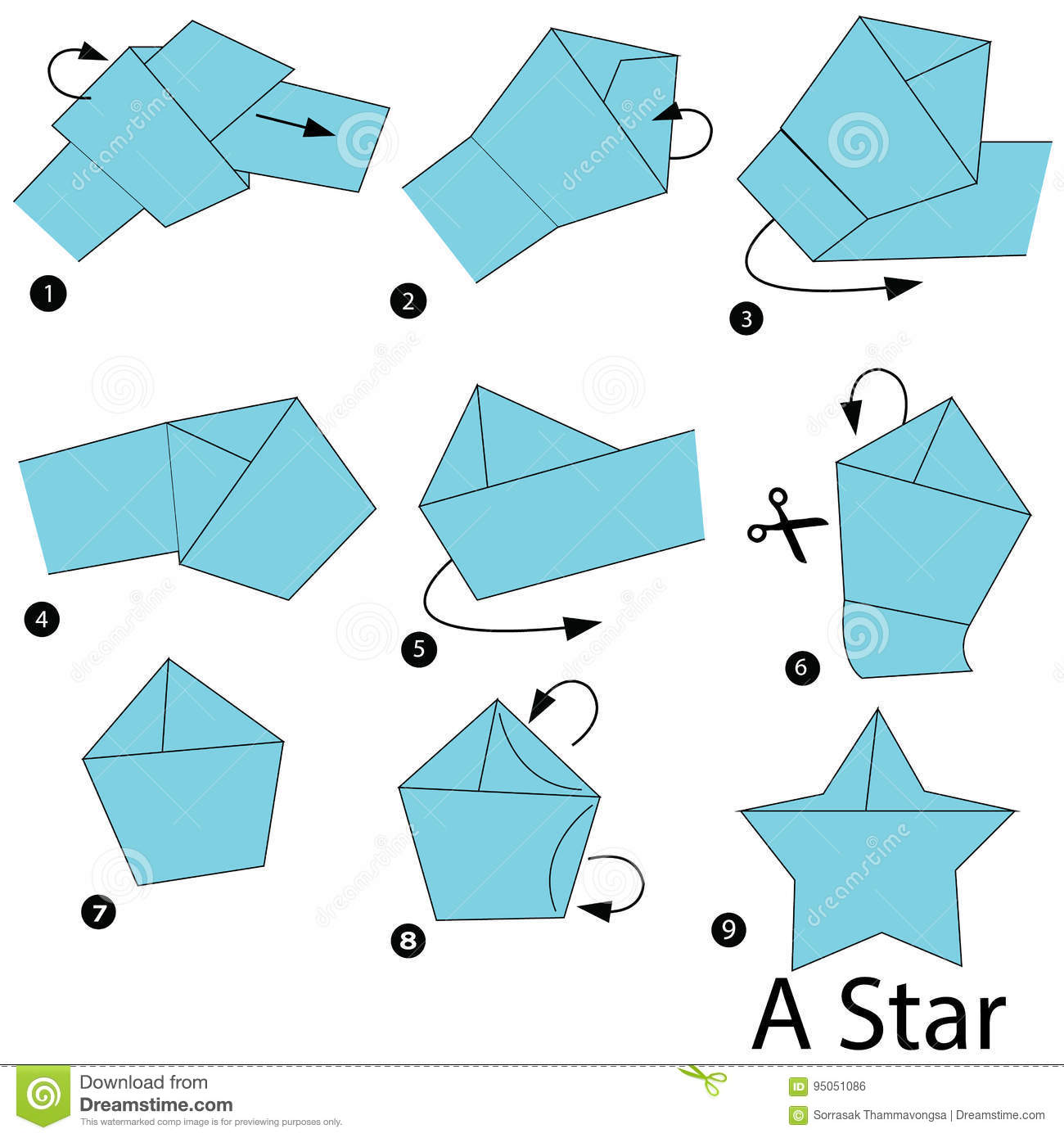 how to make a origami star step by step