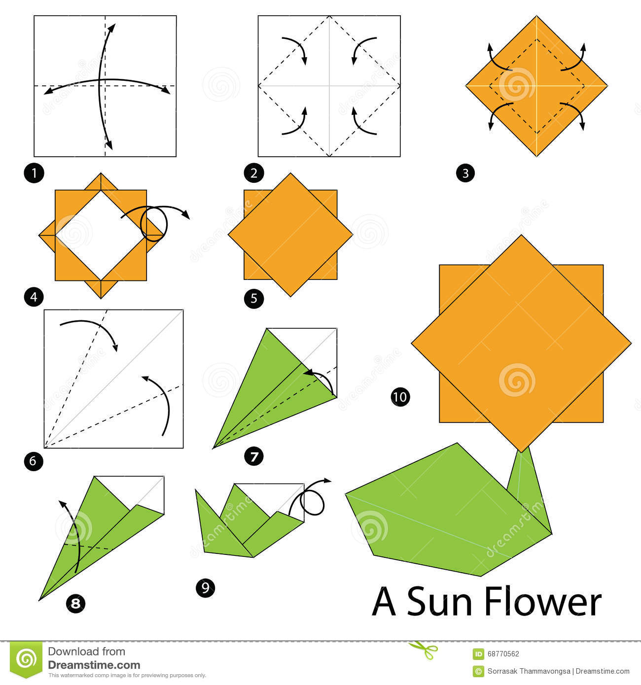 Step By Instructions How To Make Origami A Sun Flower Stock