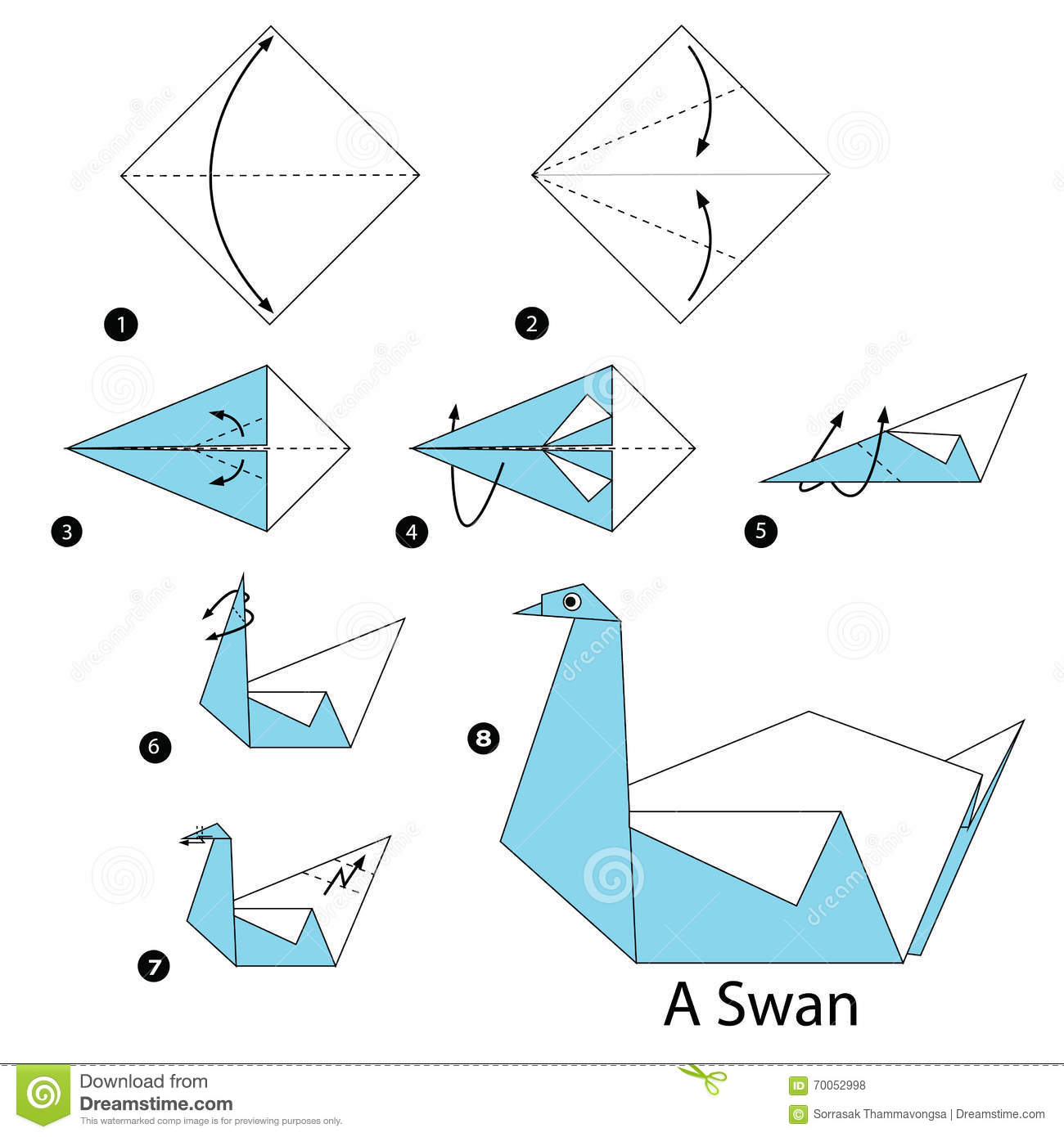 step by step instructions how to make origami a swan