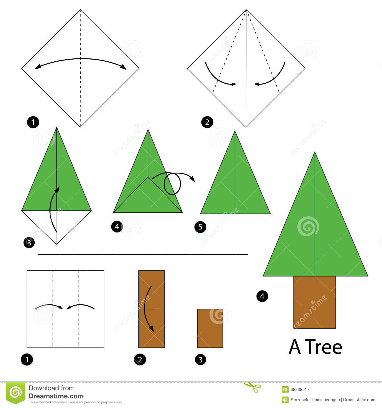 Step By Instructions How To Make Origami A Tree Stock Vector Image 68238017