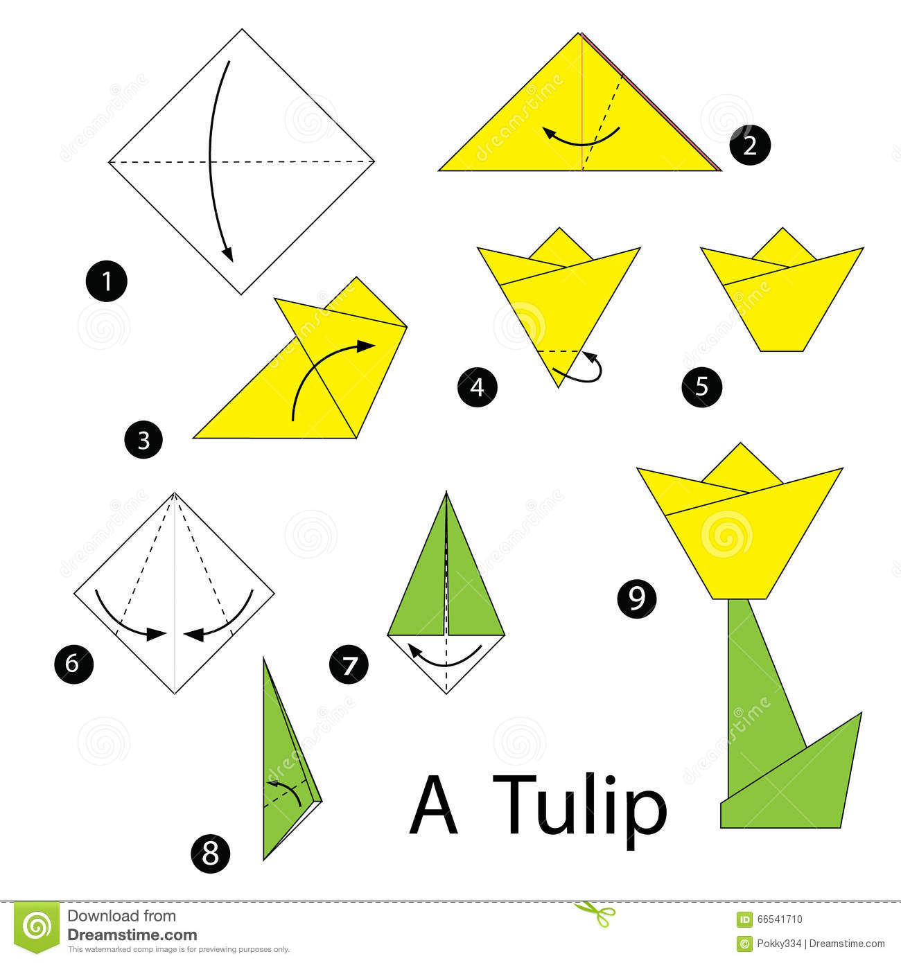 Step By Step Instructions How To Make Origami Tulip Stock Vector