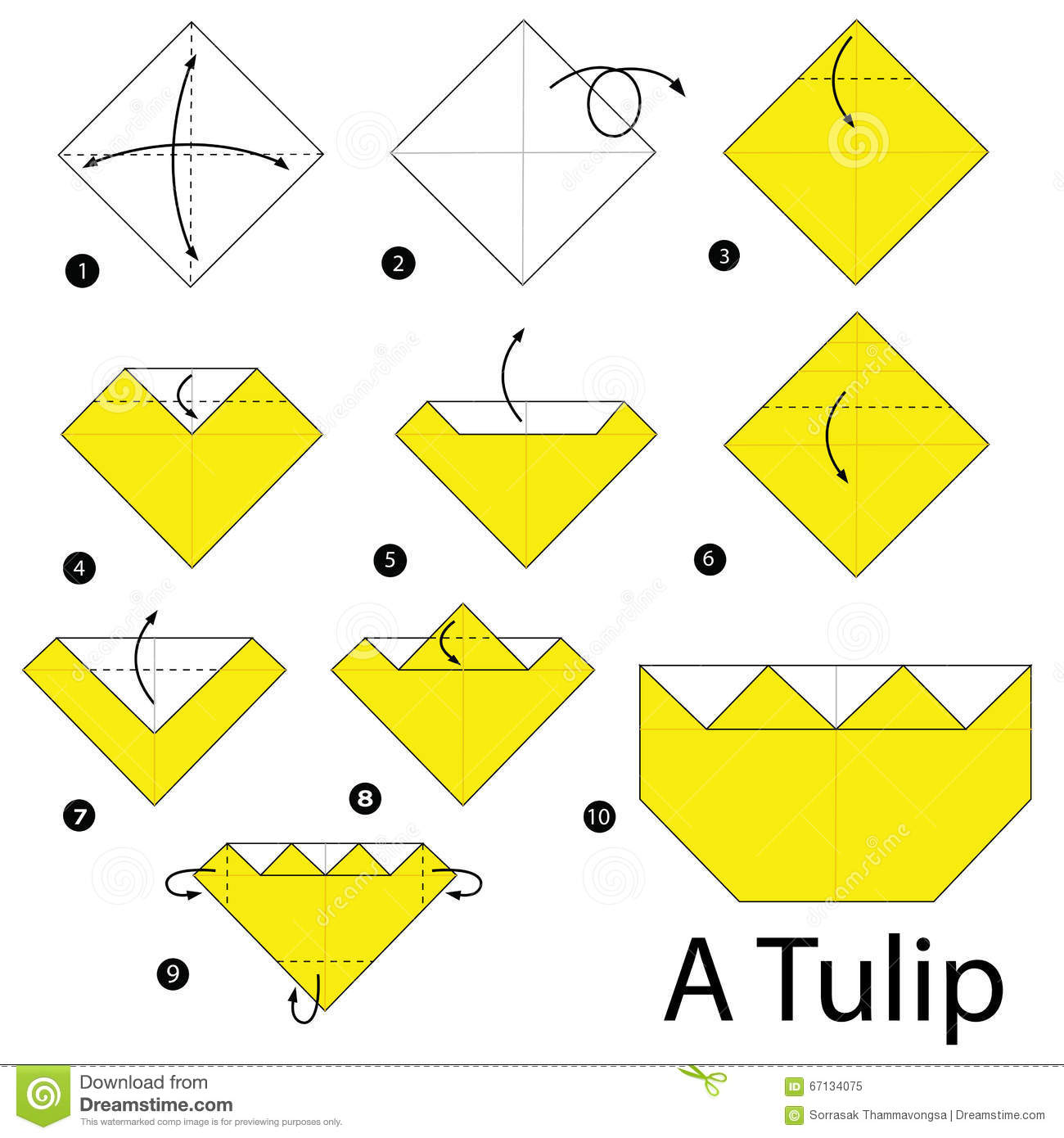 Easy Origami Tulip Craft for Kids | Papiroflexia para ... | 1390x1300