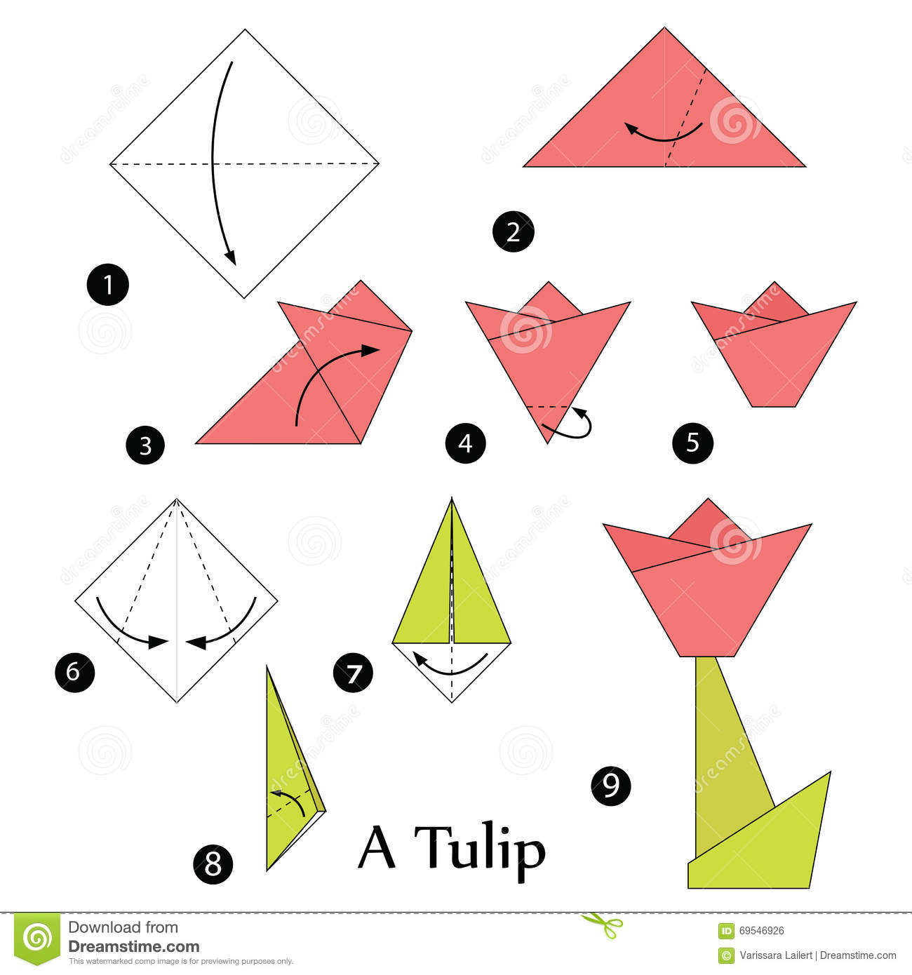 Step by step instructions how to make origami tulip stock step by step instructions how to make origami a tulip royalty free stock image jeuxipadfo Image collections