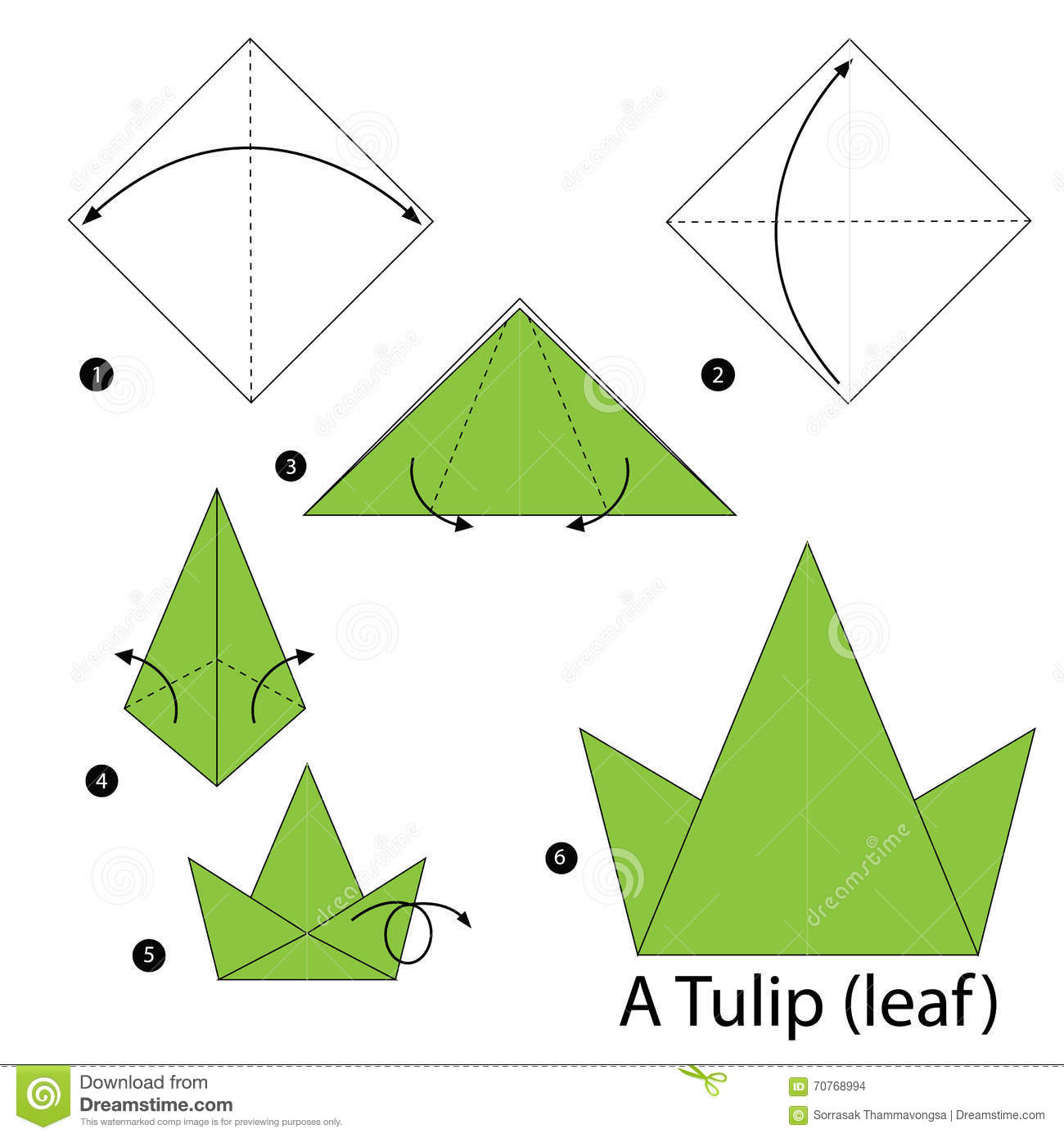 Step By Step Instructions How To Make Origami A Tulipleaf Stock