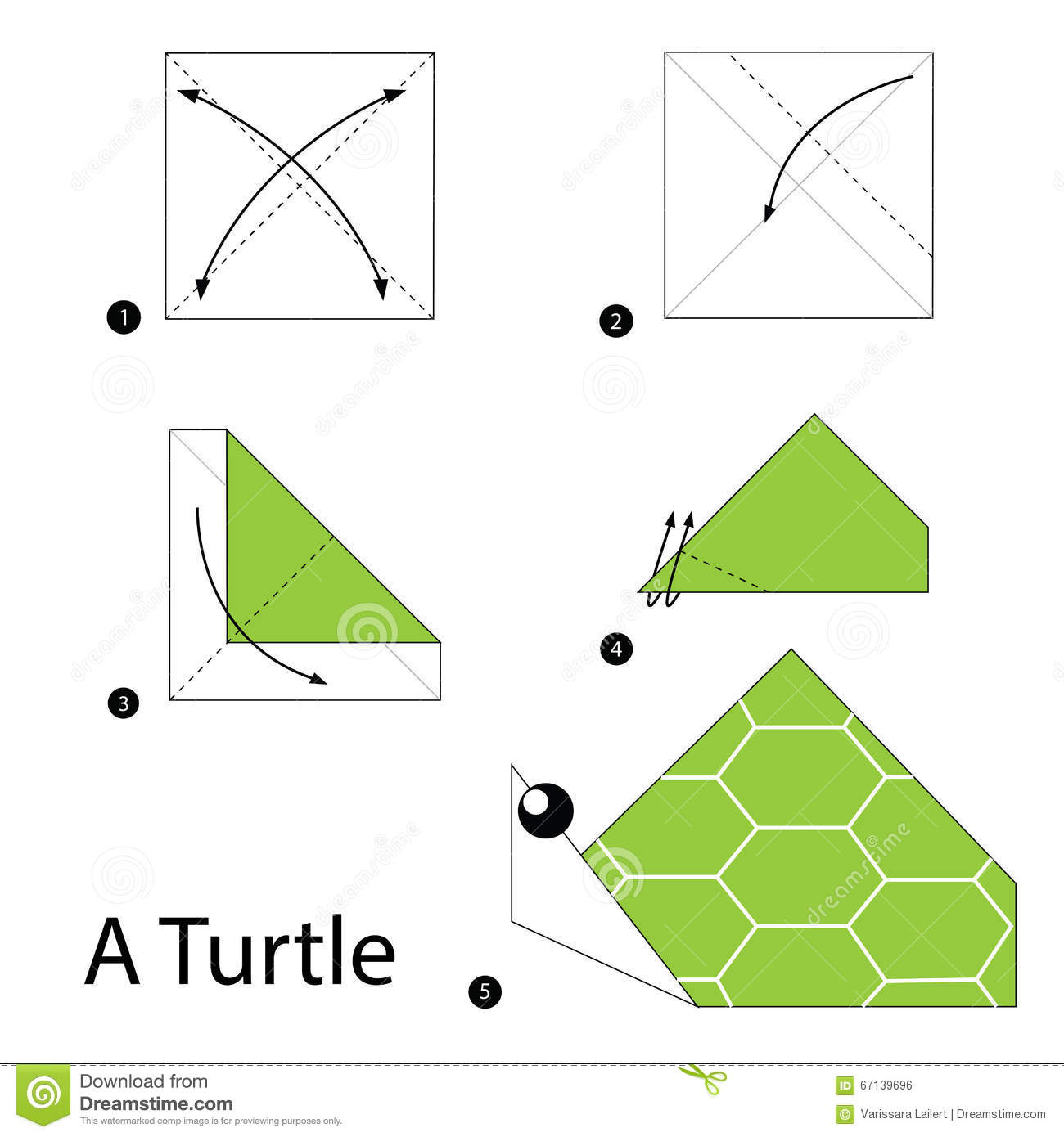 Step By Step Instructions How To Make Origami A Turtle Stock Vector