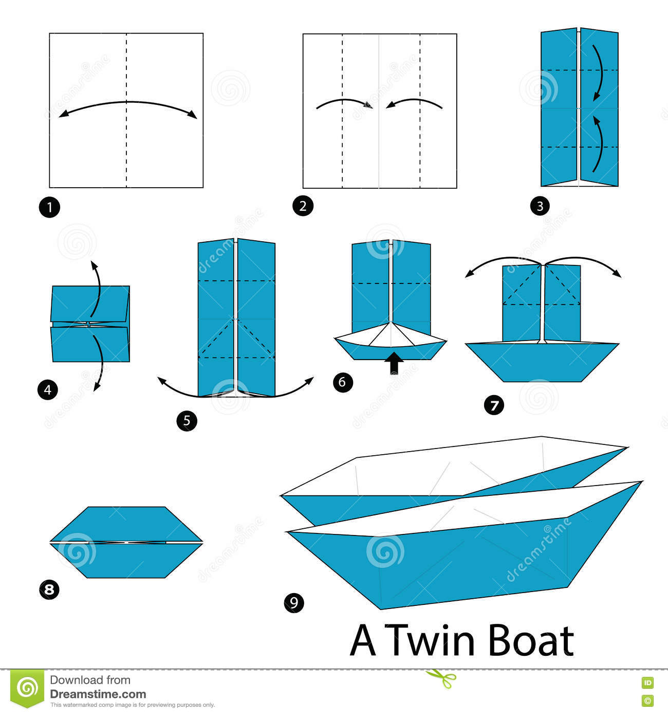 step by step instructions how to make origami a twin boat