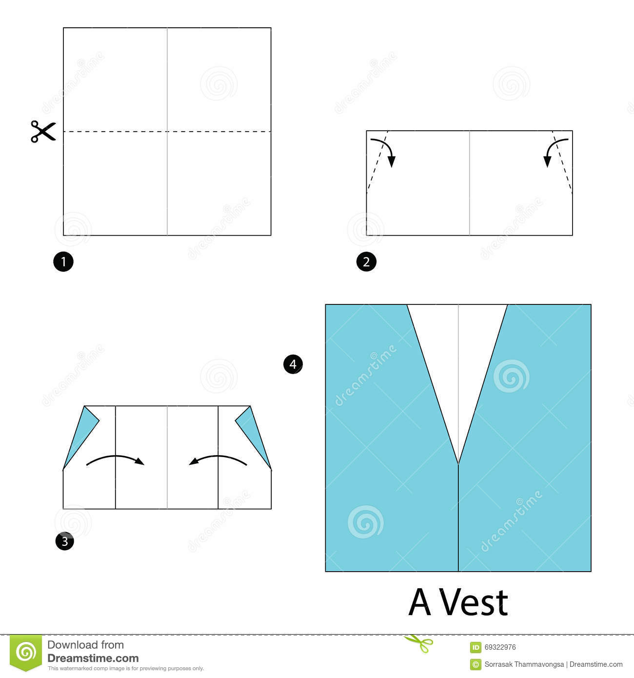 Download Step By Instructions How To Make Origami A Vest Stock Vector